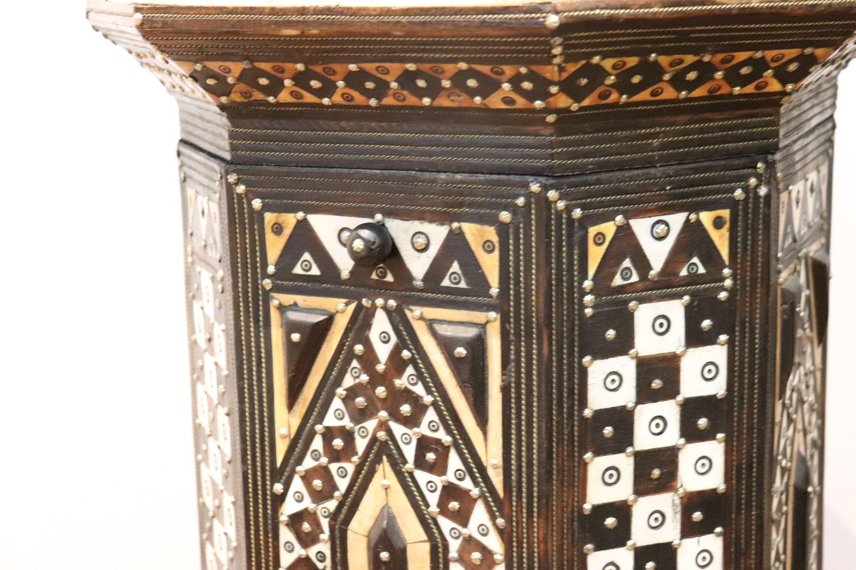 20th Century Italian Carlo Bugatti Style Inlay Side Table or Pedestal Table