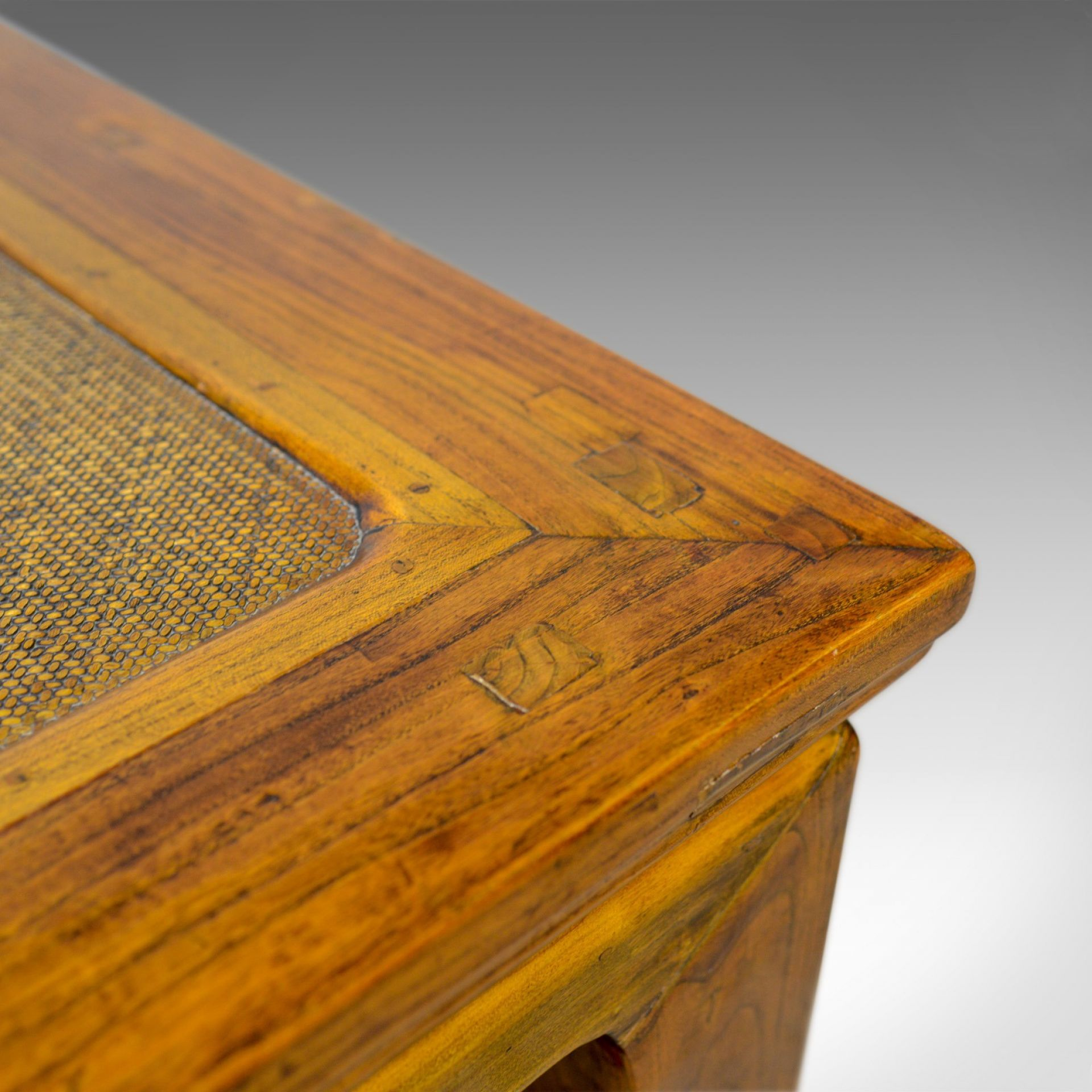 Vintage Chinese Elm and Rattan Coffee Table, Late 20th Century