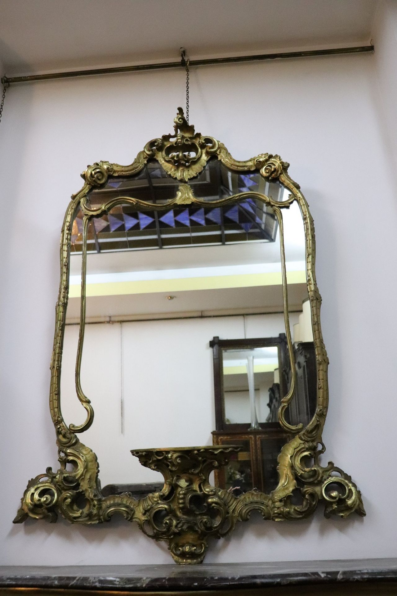 20th Century Italian Baroque Style Gilded Carved Wood Wall Mirror