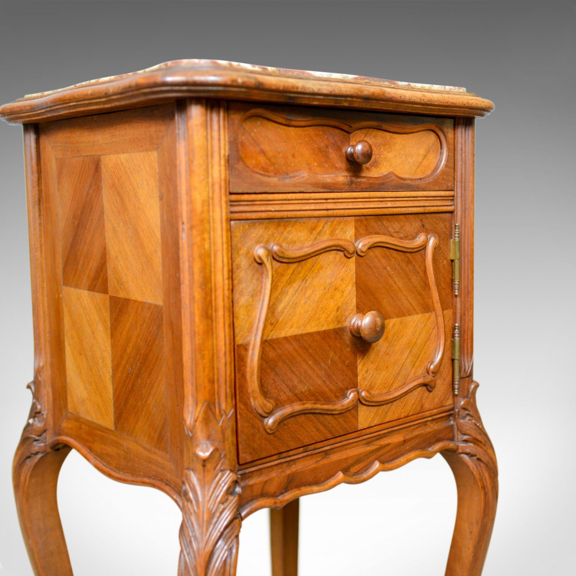 Antique French Bedside Cabinet, Victorian, Walnut, Marble, Pot Cupboard, c.1890