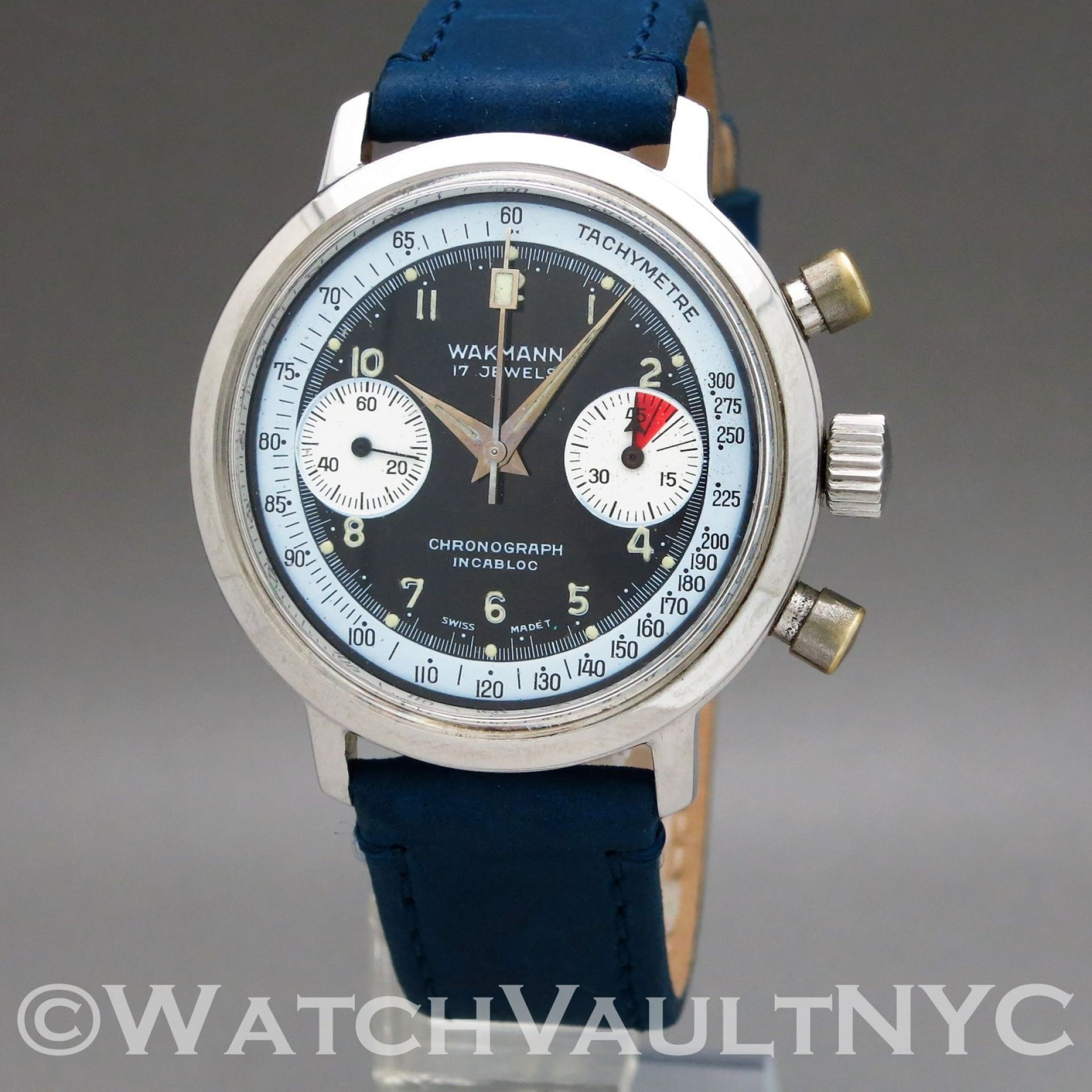 Wakmann Chronograph 332.24 Valjoux 7733 1970s Vintage 37mm Manual RI203