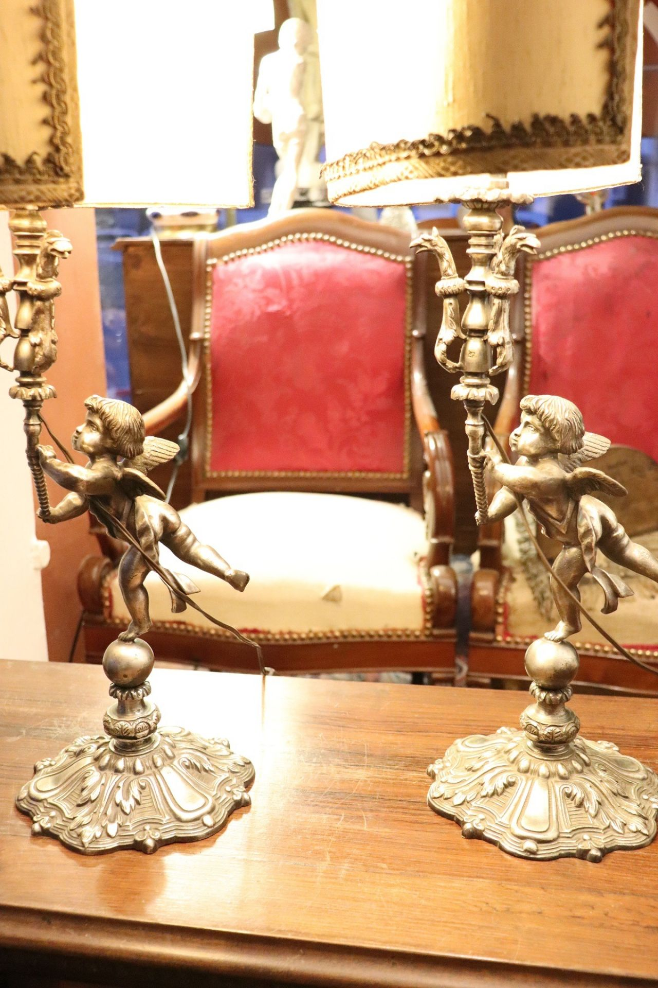 20th Century Italian Art Nouveau Silvered Bronze Pair of Table Lamp
