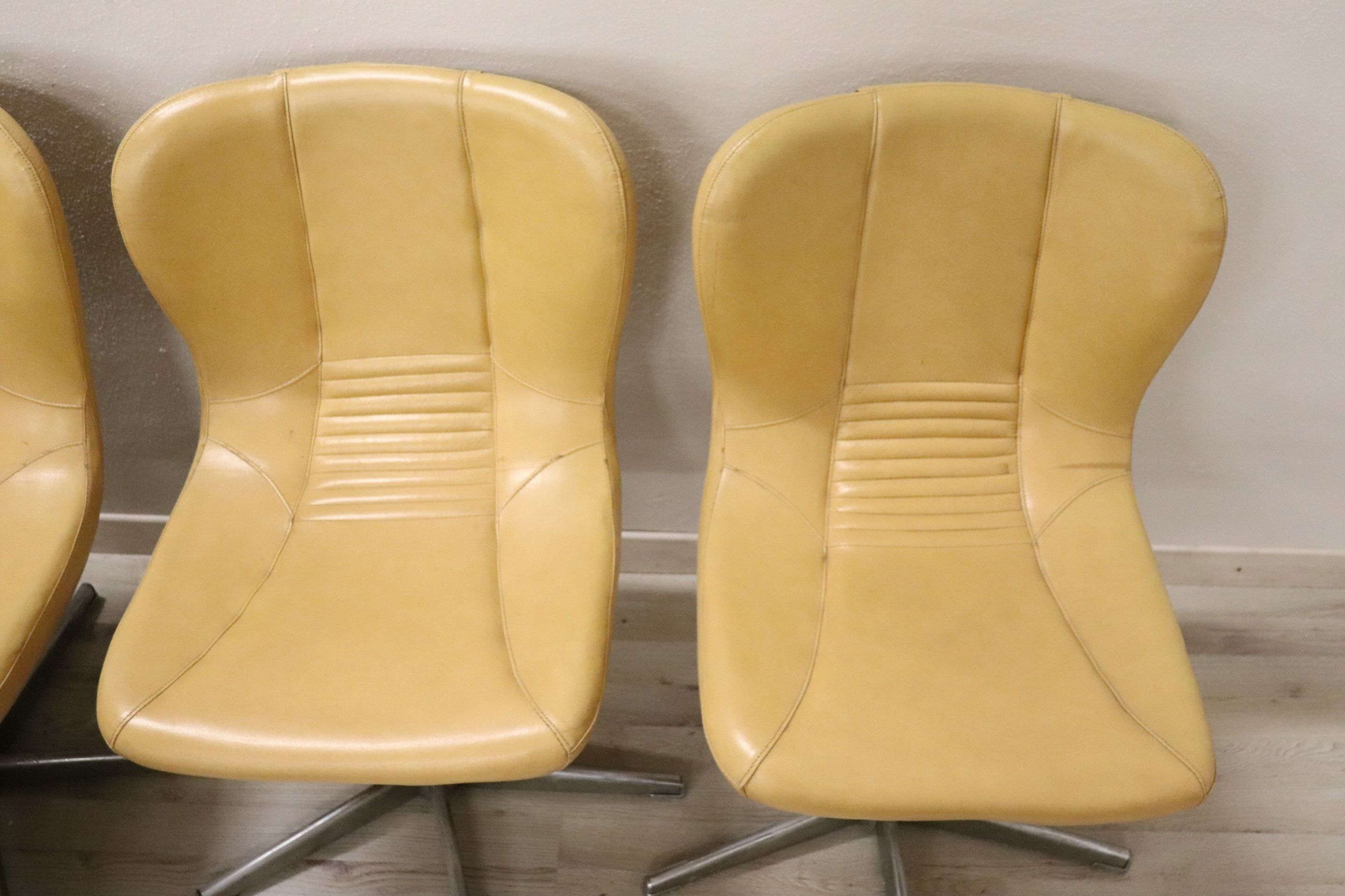 20th Century Italian Design Chromed Metal and Leather Set of 10 Armchairs, 1960s