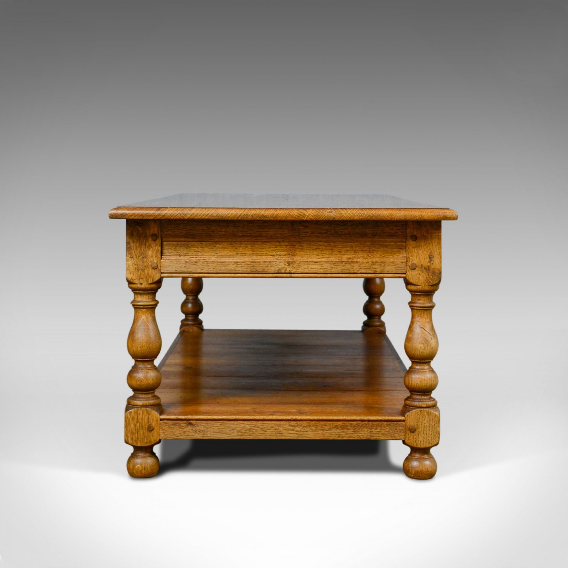 Vintage Oak Coffee Table, English, Drawers, Late 20th Century