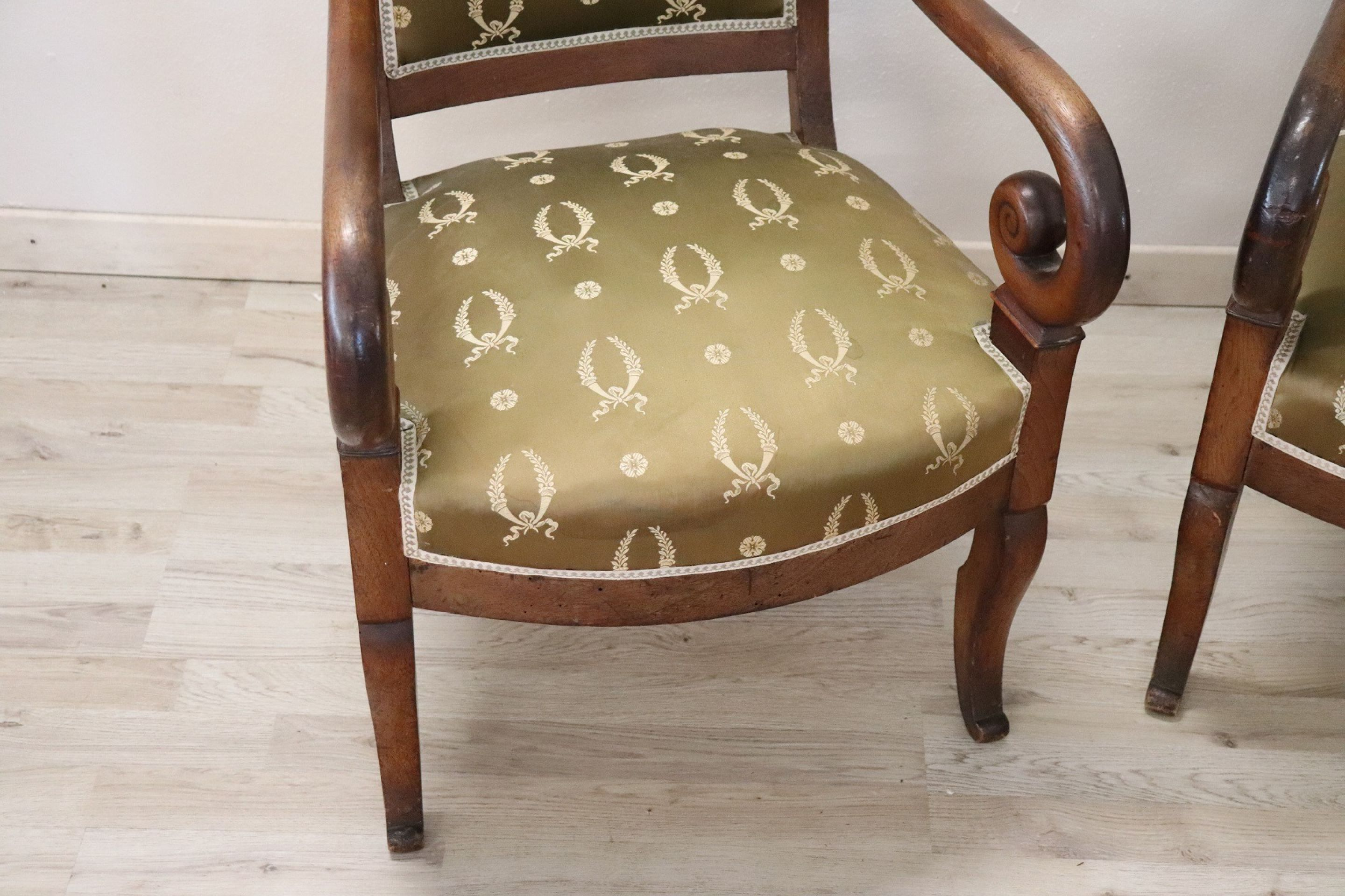 19th Century French Empire Walnut Pair of Armchairs with Volute Arms