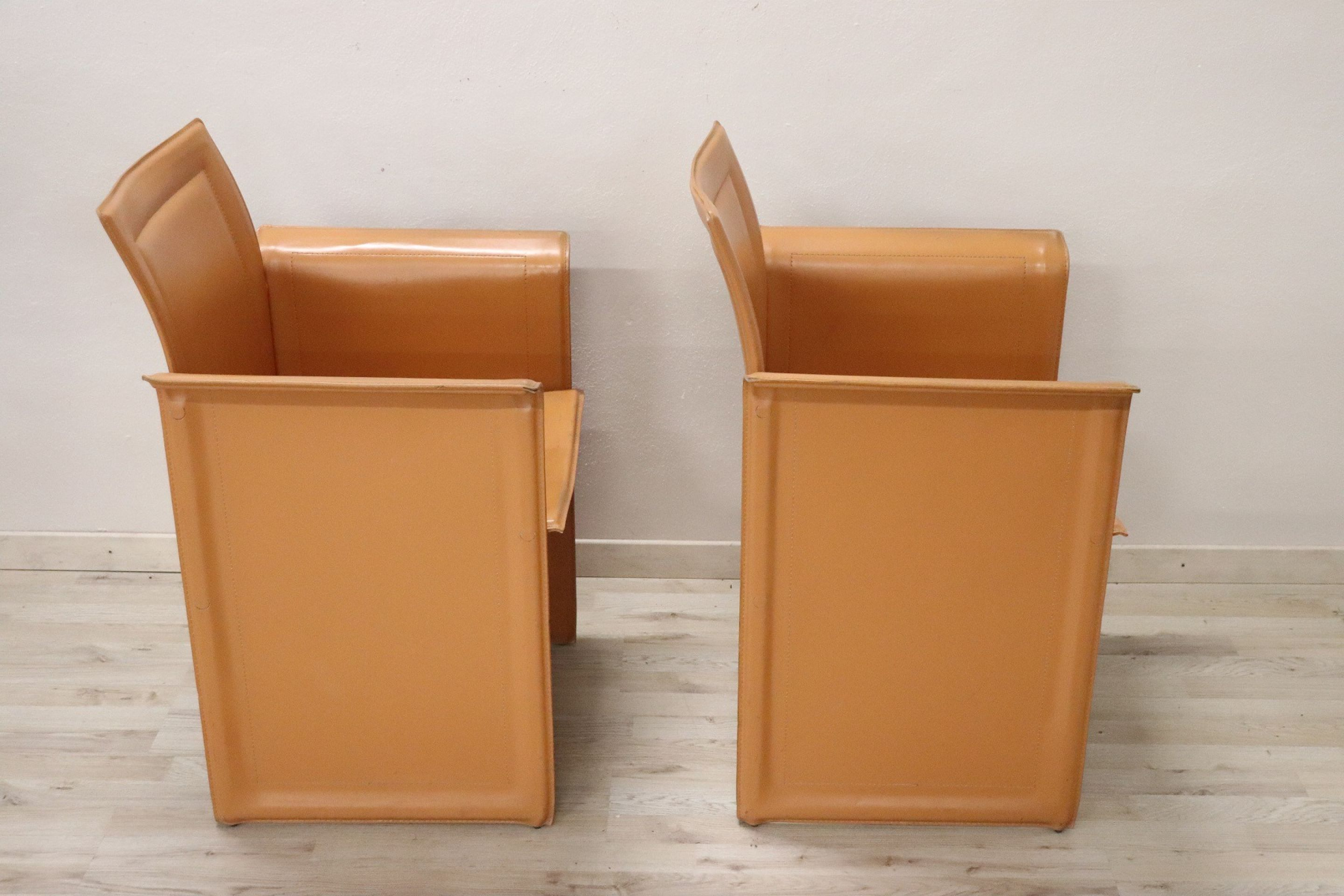 Italian Design Korium Leather Pair of Armchairs by Tito Agnoli for Matteo Grassi