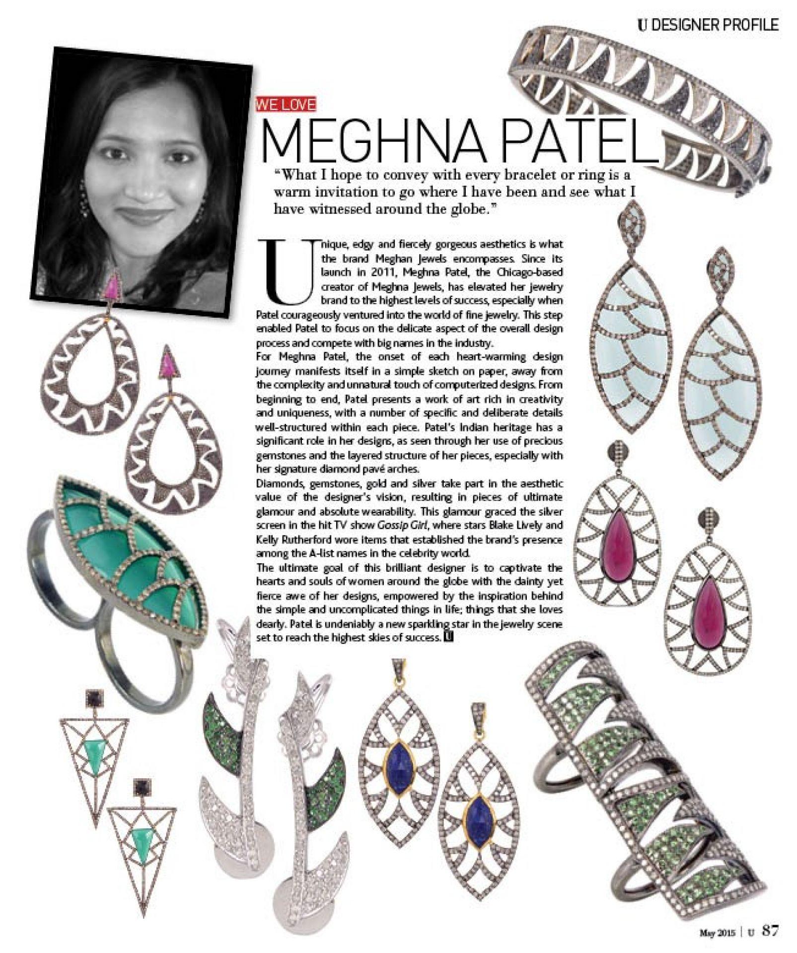 Meghna Jewels Interlocking Claw Earrings 6.22 Black and Diamonds