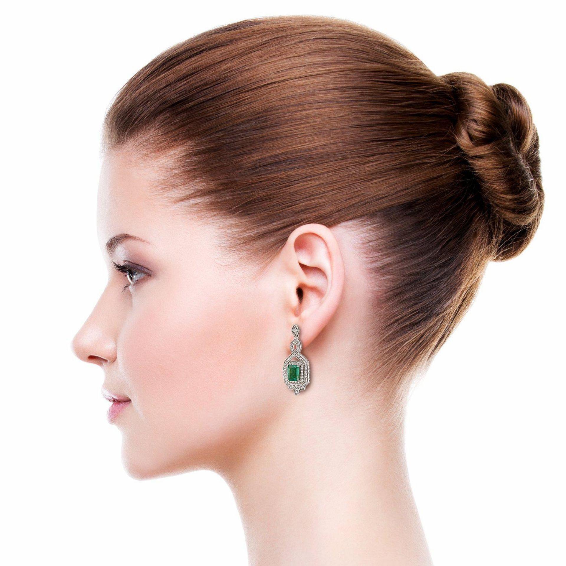 4.28ctw Emerald and 1.48ctw Diamond 18K White Gold Dangle Earrings