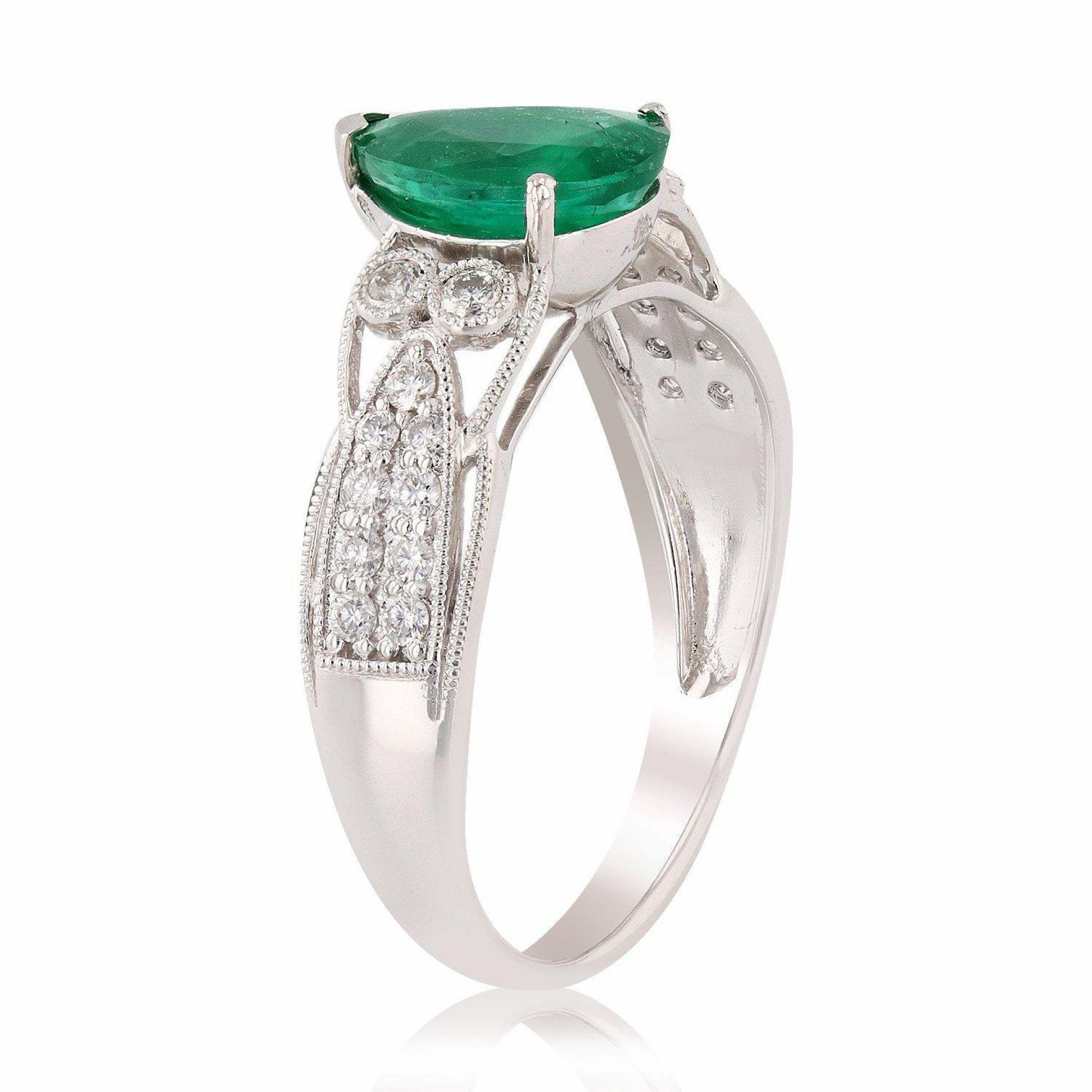 1.48ct Emerald and 0.27ctw Diamond Platinum Ring