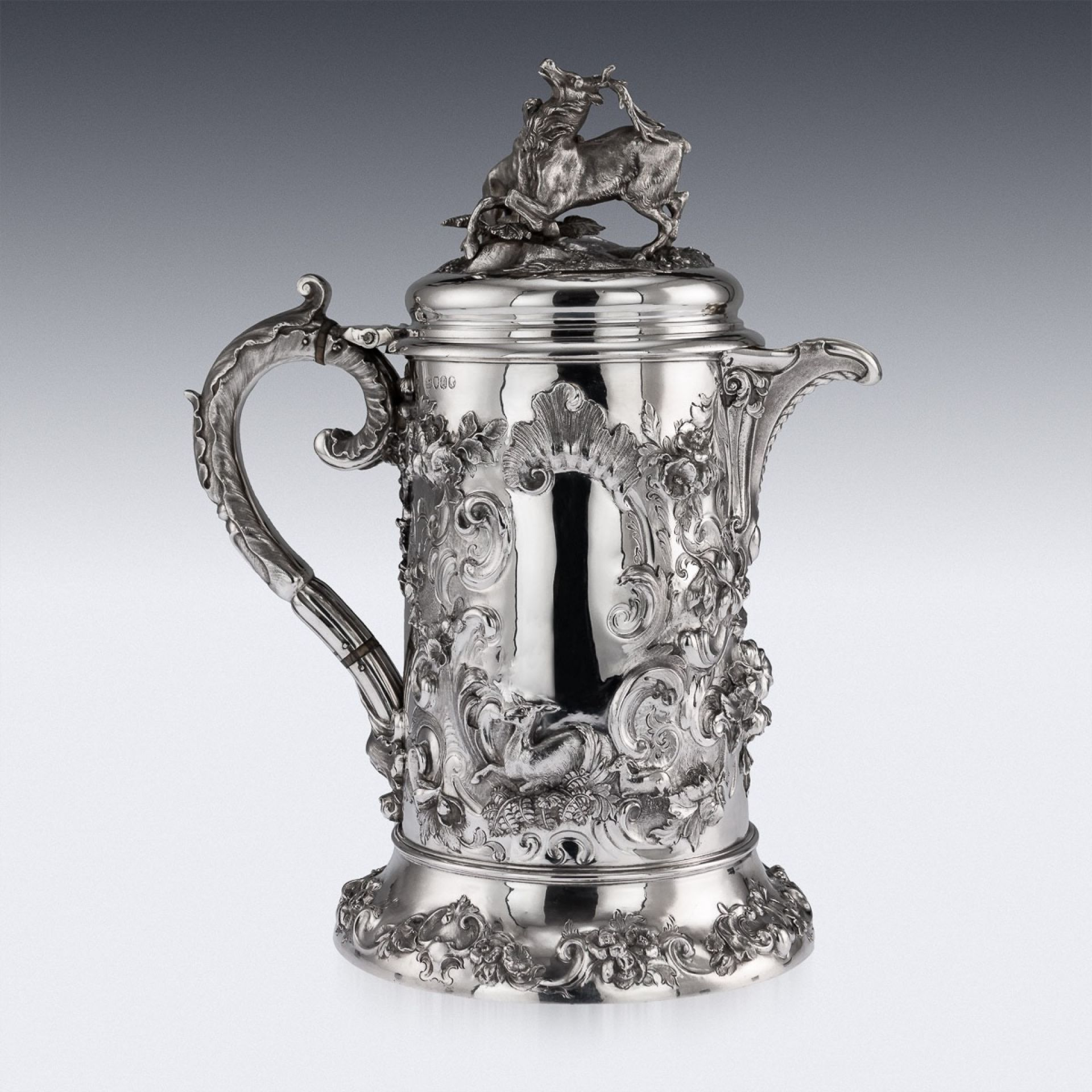 ANTIQUE 19thC VICTORIAN SOLID SILVER HUNTING FLAGON, ROBERT HENNELL c.1855