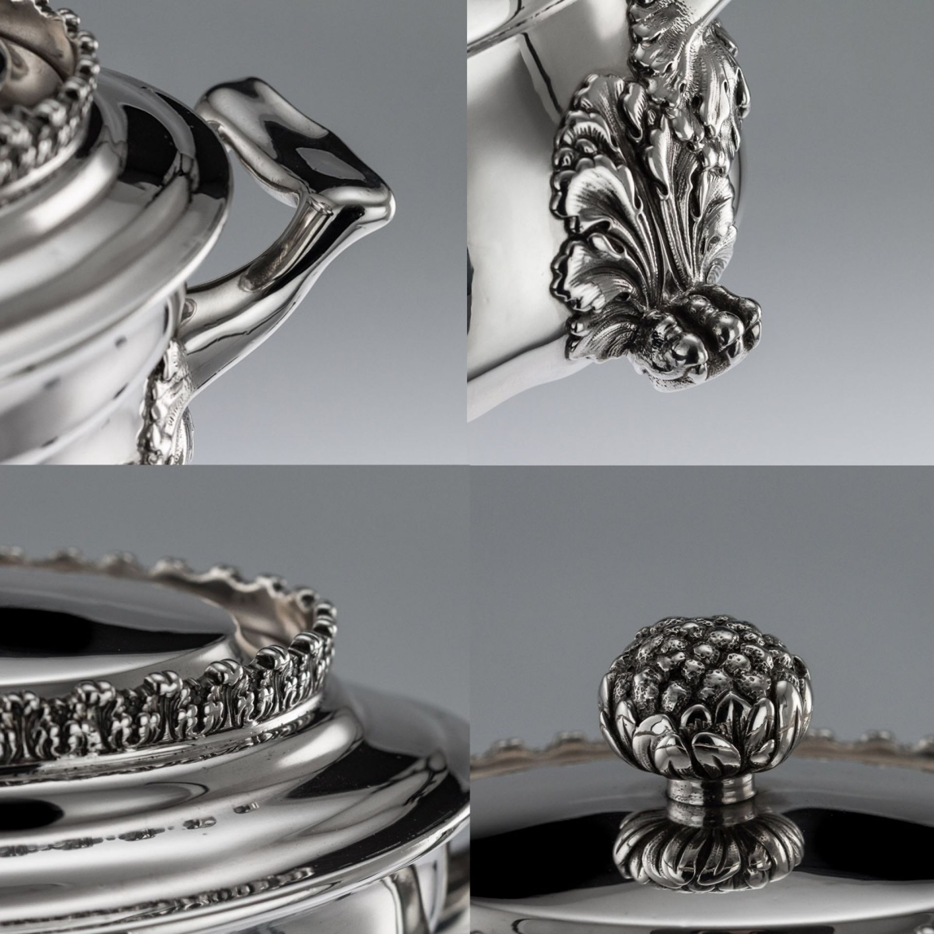 ANTIQUE 19thC AMERICAN TIFFANY & CO SOLID SILVER ACANTHUS TEA SERVICE c.1880