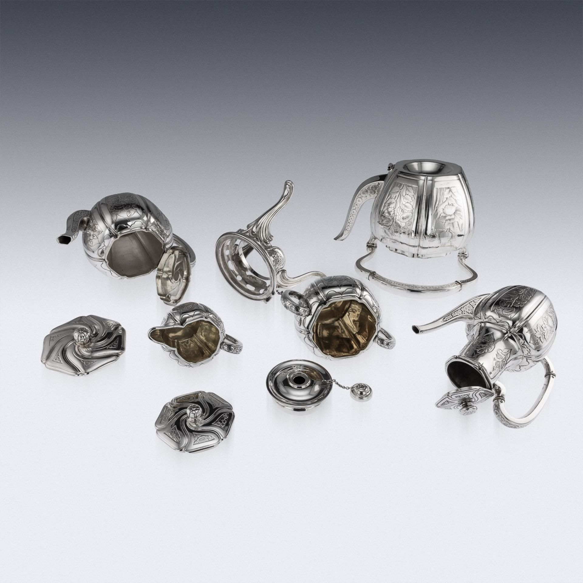 ANTIQUE 19thC FRENCH SOLID SILVER FIVE PIECE TEA SERVICE, ODIOT c.1880
