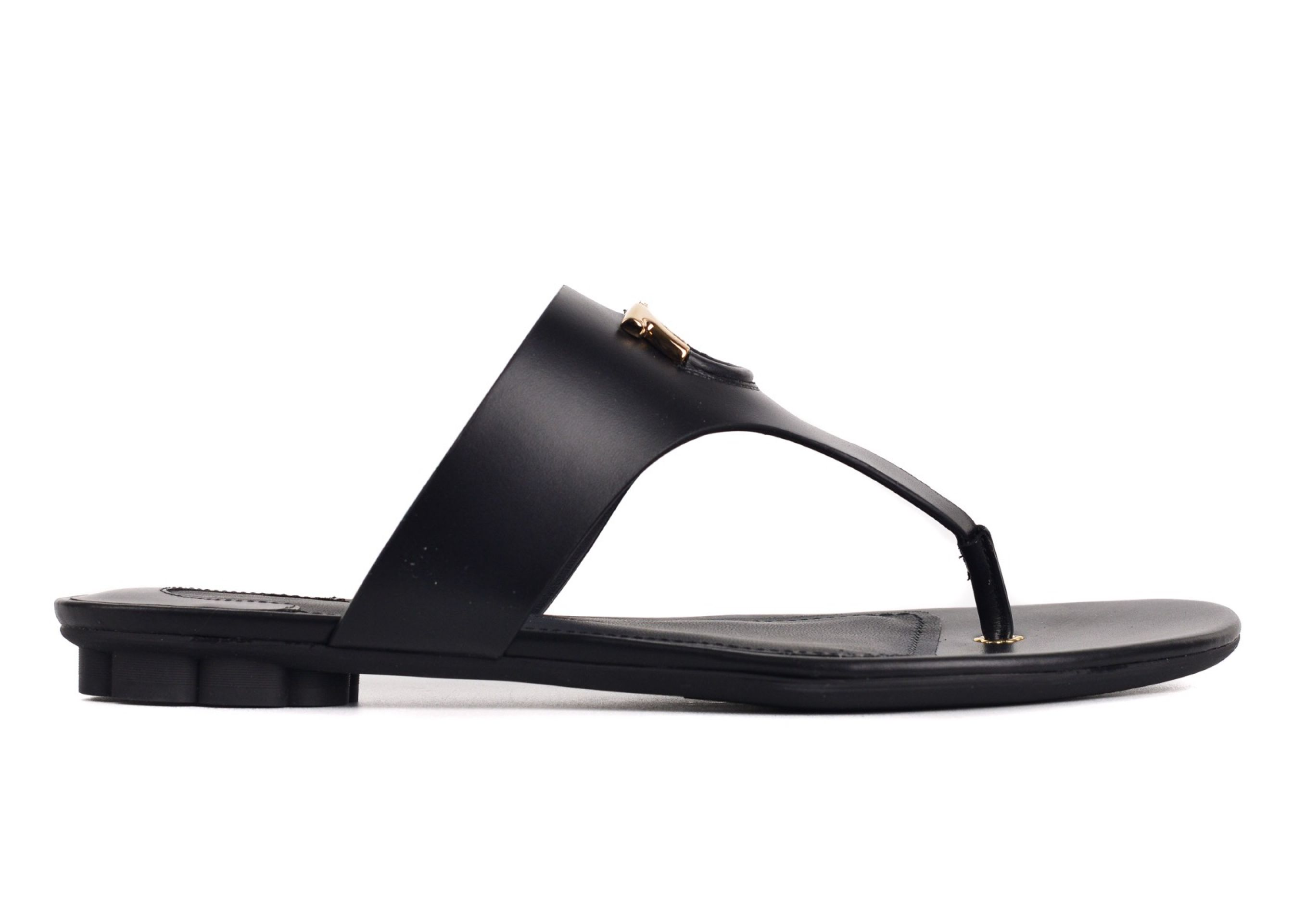 SALVATORE FERRAGAMO WOMEN'S ENFOLA BLACK LEATHER FLAT T-BAR SANDALS