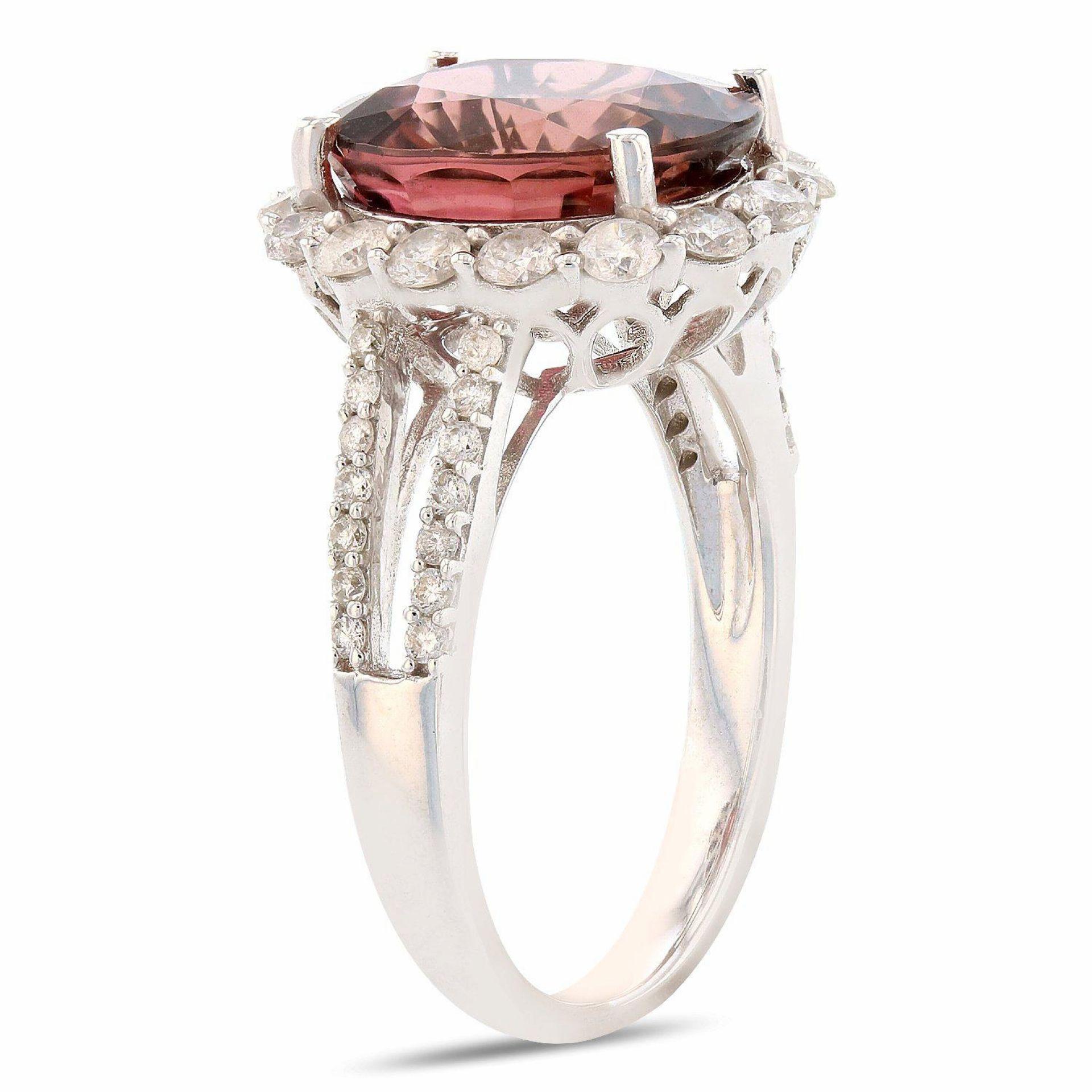4.98ct Pink Tourmaline and 0.89ctw Diamond 14K White Gold Ring