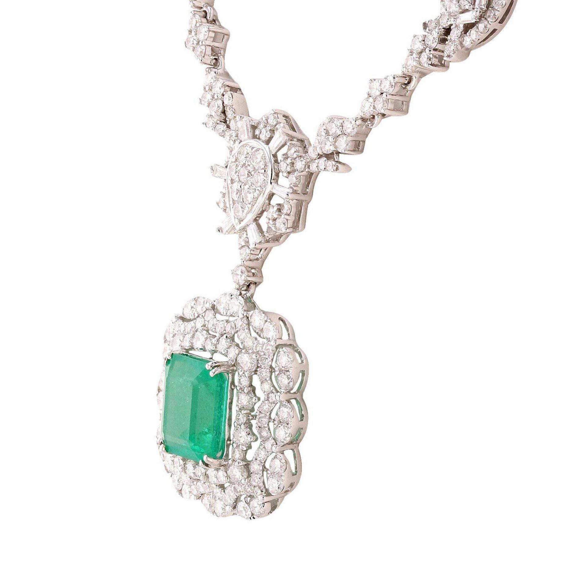 4.09ct Emerald and 6.91ctw Diamond 14K White Gold Necklace