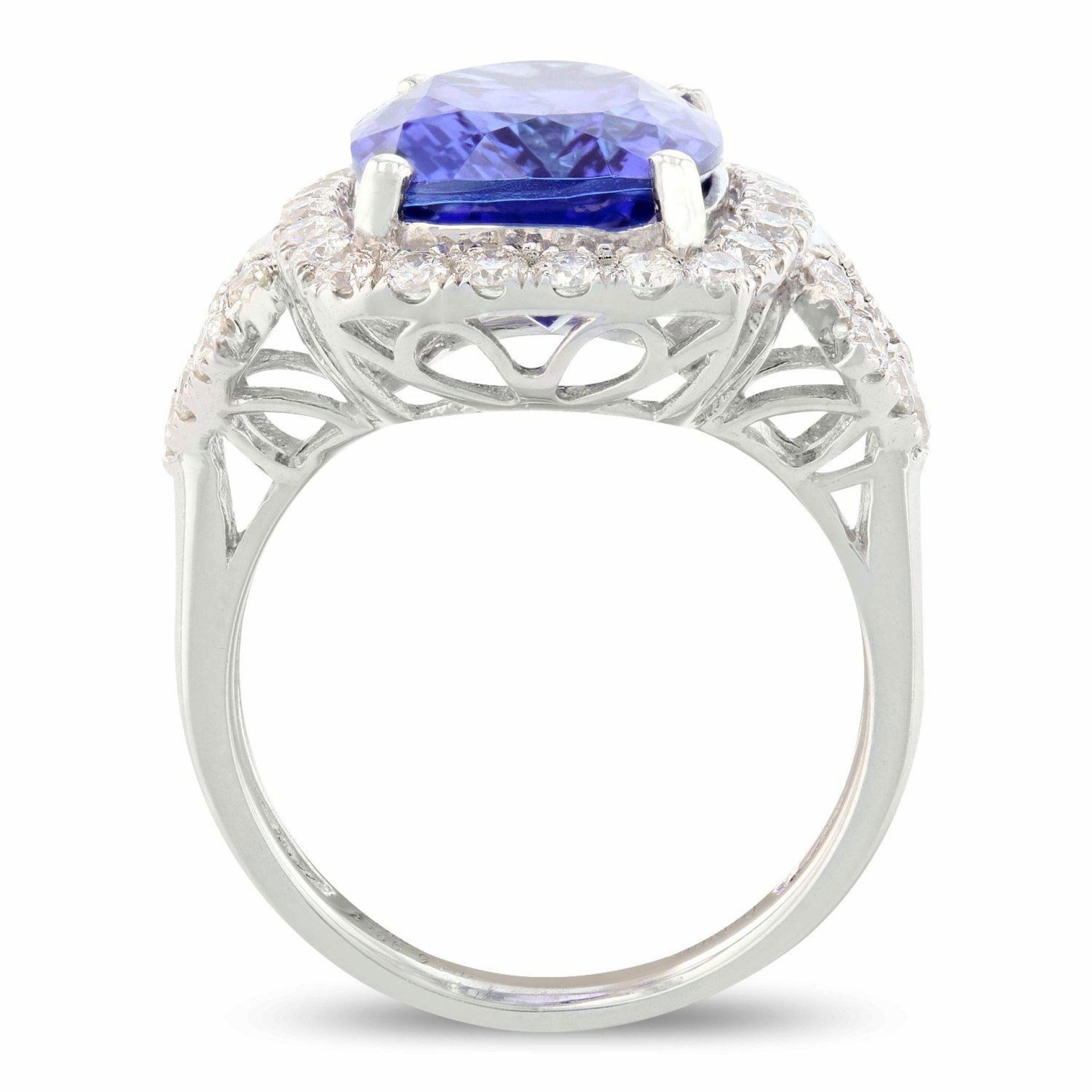 6.93ct DARK Tanzanite and 0.97ctw Diamond Platinum Ring (GIA CERTIFIED)