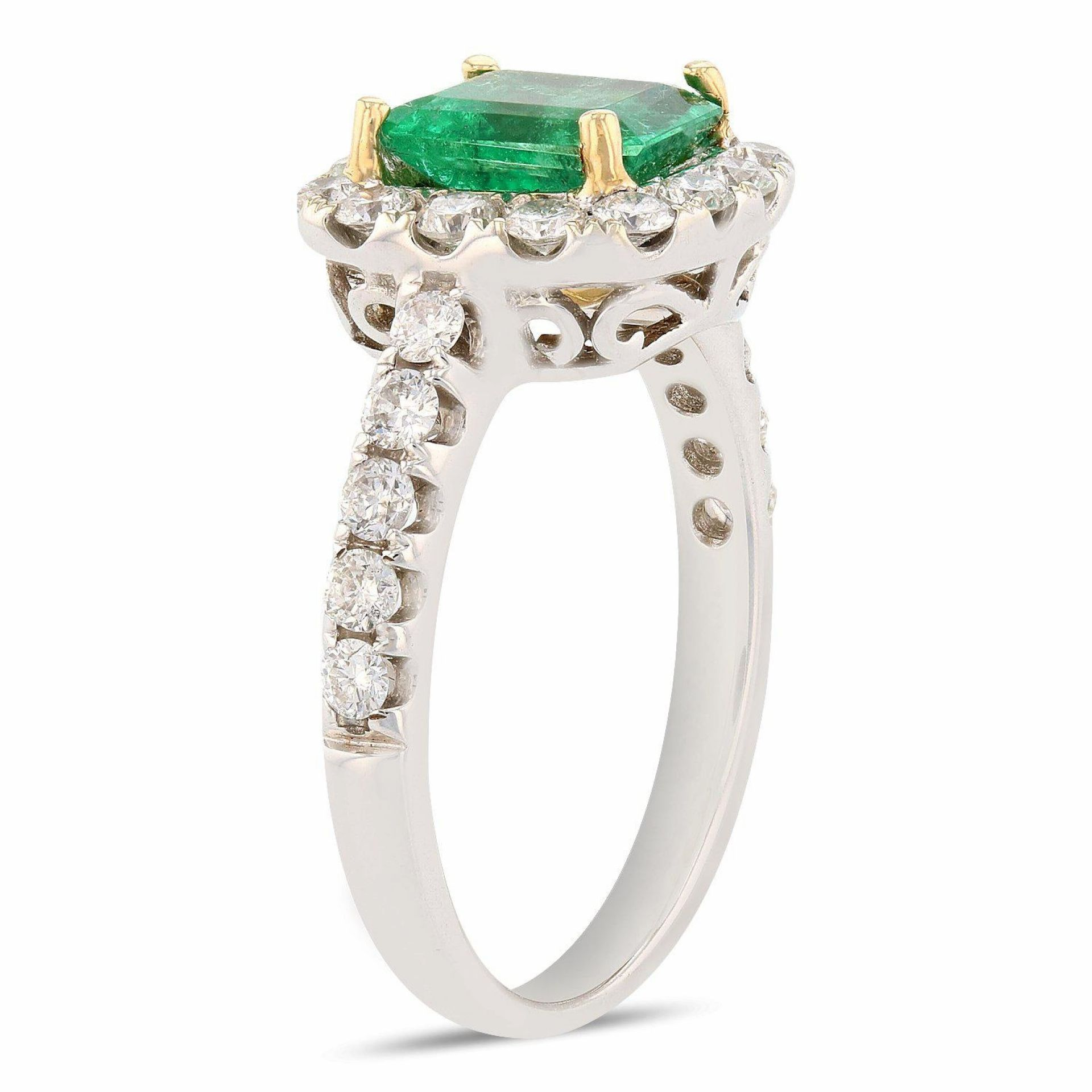 1.30ct Emerald and 0.72ctw Diamond 18K White Gold Ring