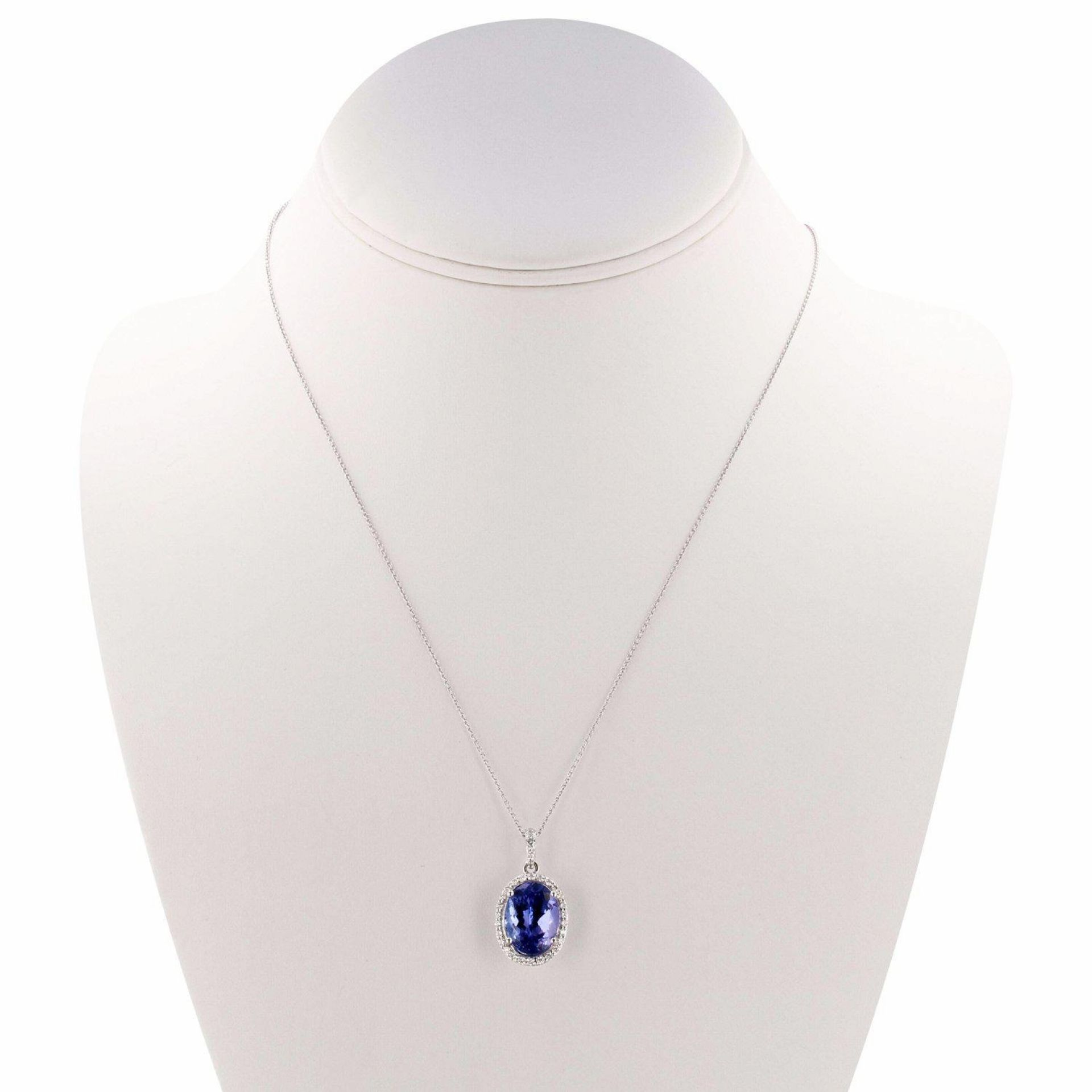 7.70ct Tanzanite and 0.37ctw Diamond Platinum Pendant/Necklace (GIA CERTIFIED)
