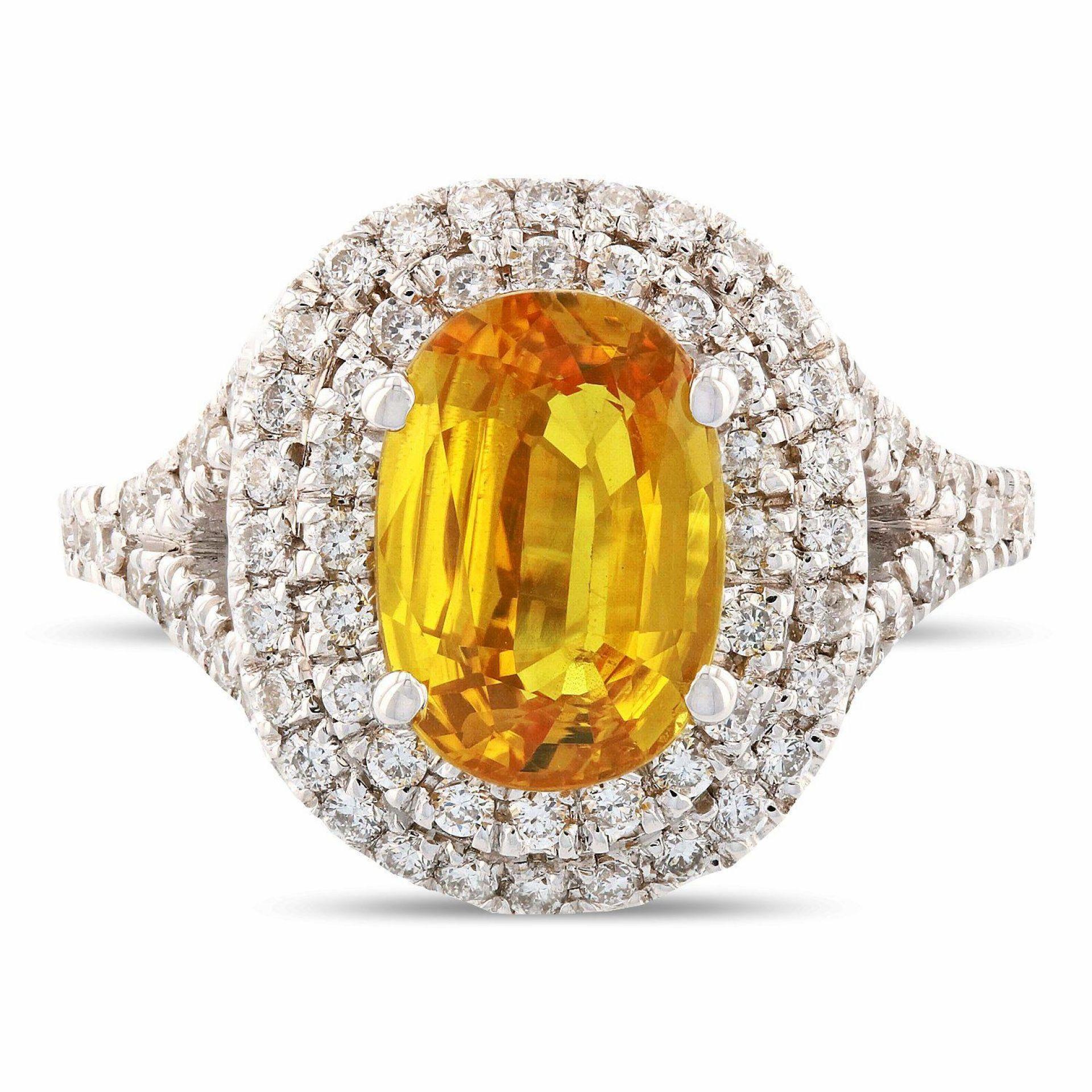2.50ct Yellow Sapphire and 0.69ctw Diamond 14K White Gold Ring