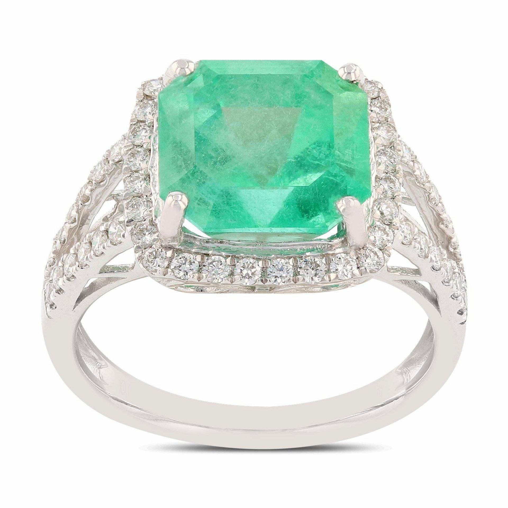 4.81ct Emerald and 0.44ctw Diamond Platinum Ring