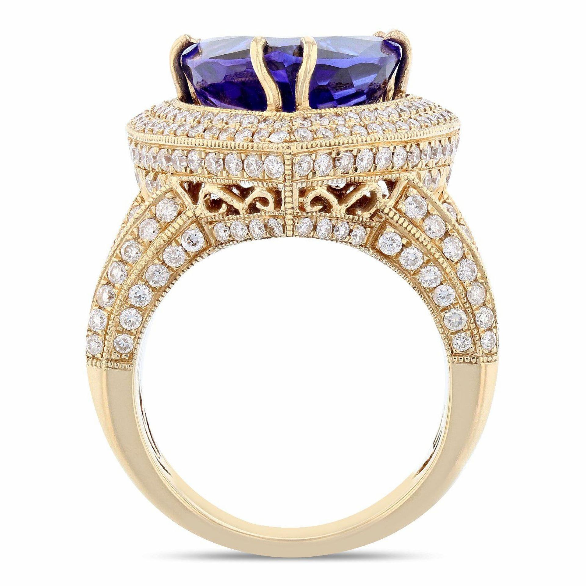 7.66ct Dark Tanzanite and 1.86ctw Diamond 14K Yellow Gold Ring