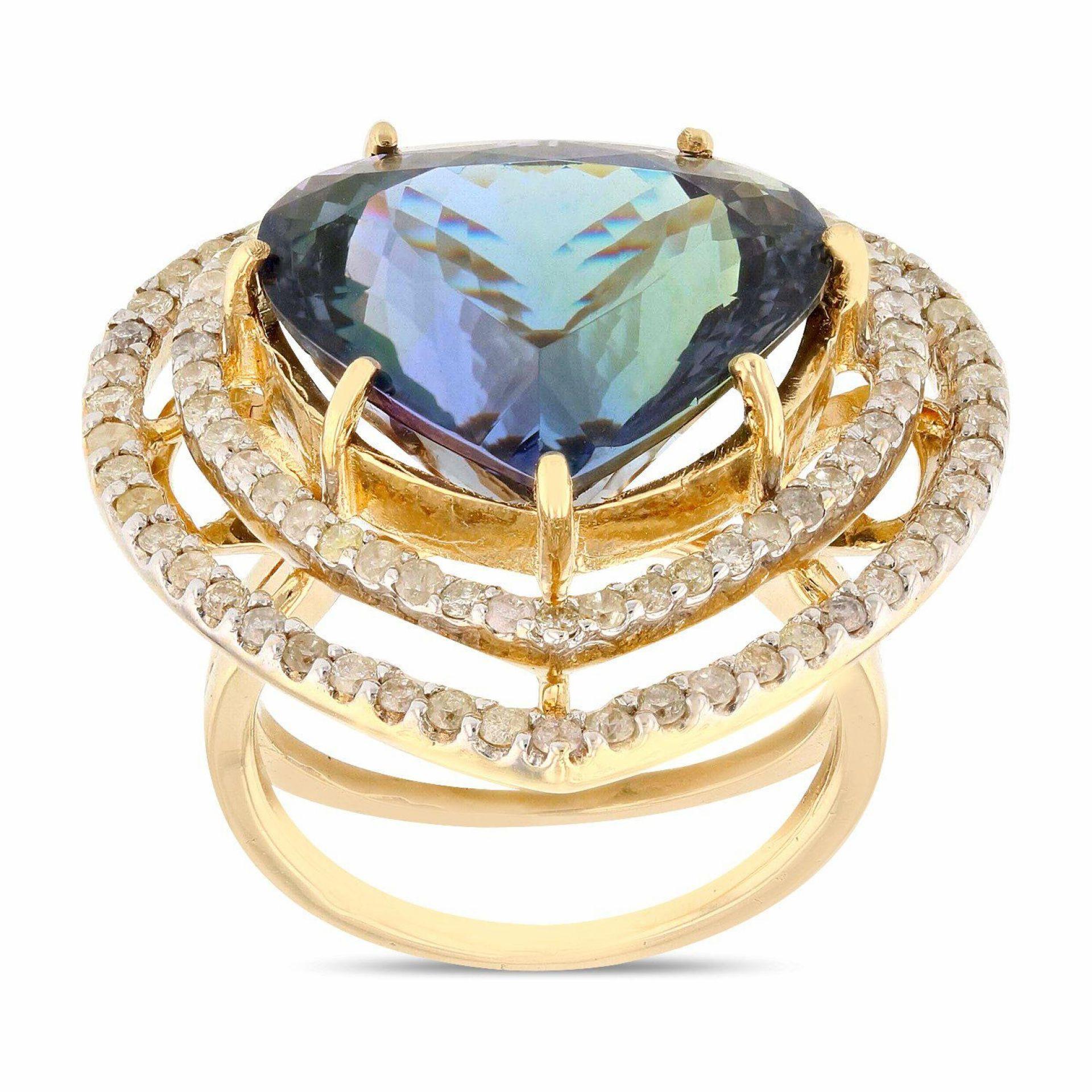 13.87ct Tanzanite and 0.98ctw Diamond 14K Yellow Gold Ring