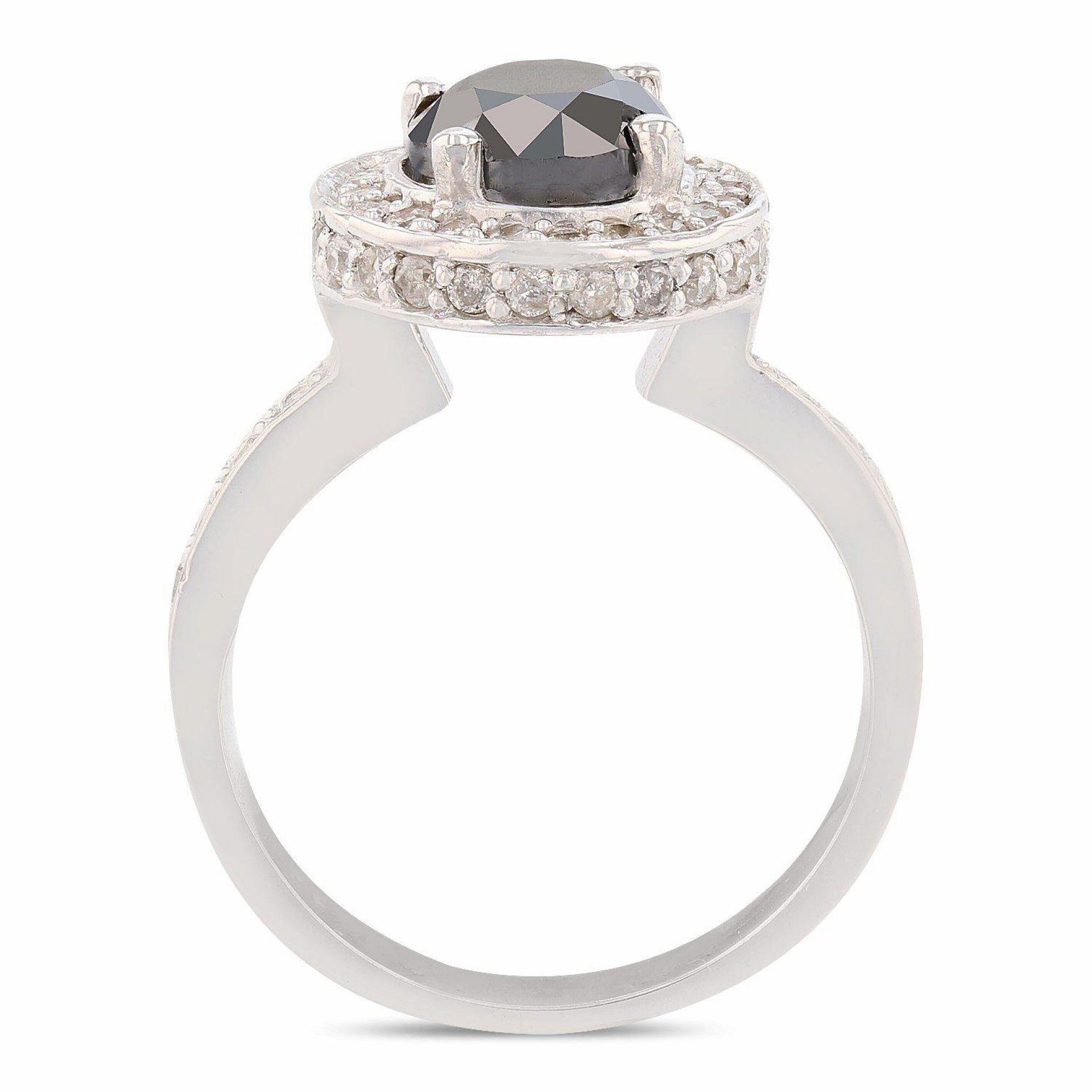 1.77ct CENTER Fancy Black Diamond 14K White Gold Ring (2.37ctw Diamonds)