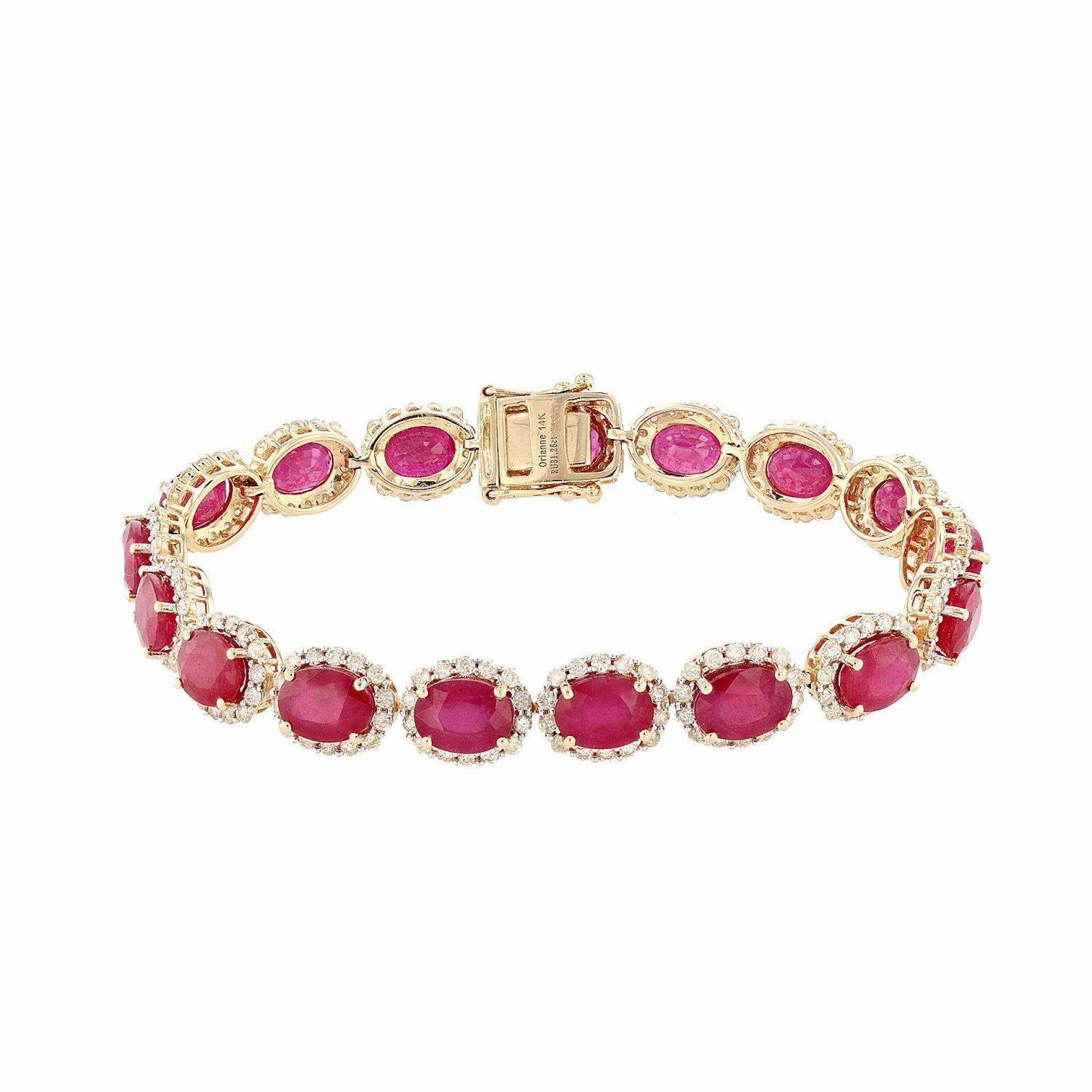 31.26ctw Ruby and 4.00ctw Diamond 14K Yellow Gold Bracelet