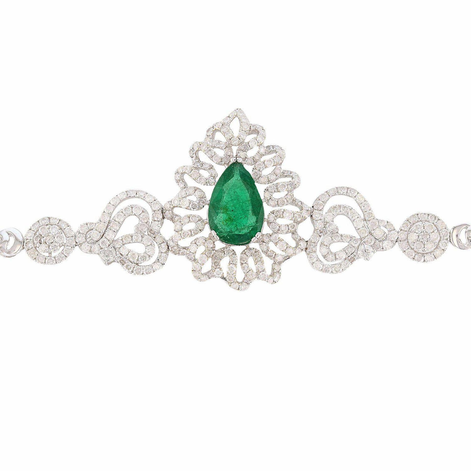 2.75ct Emerald and 3.19ctw Diamond 14K White Gold Bracelet