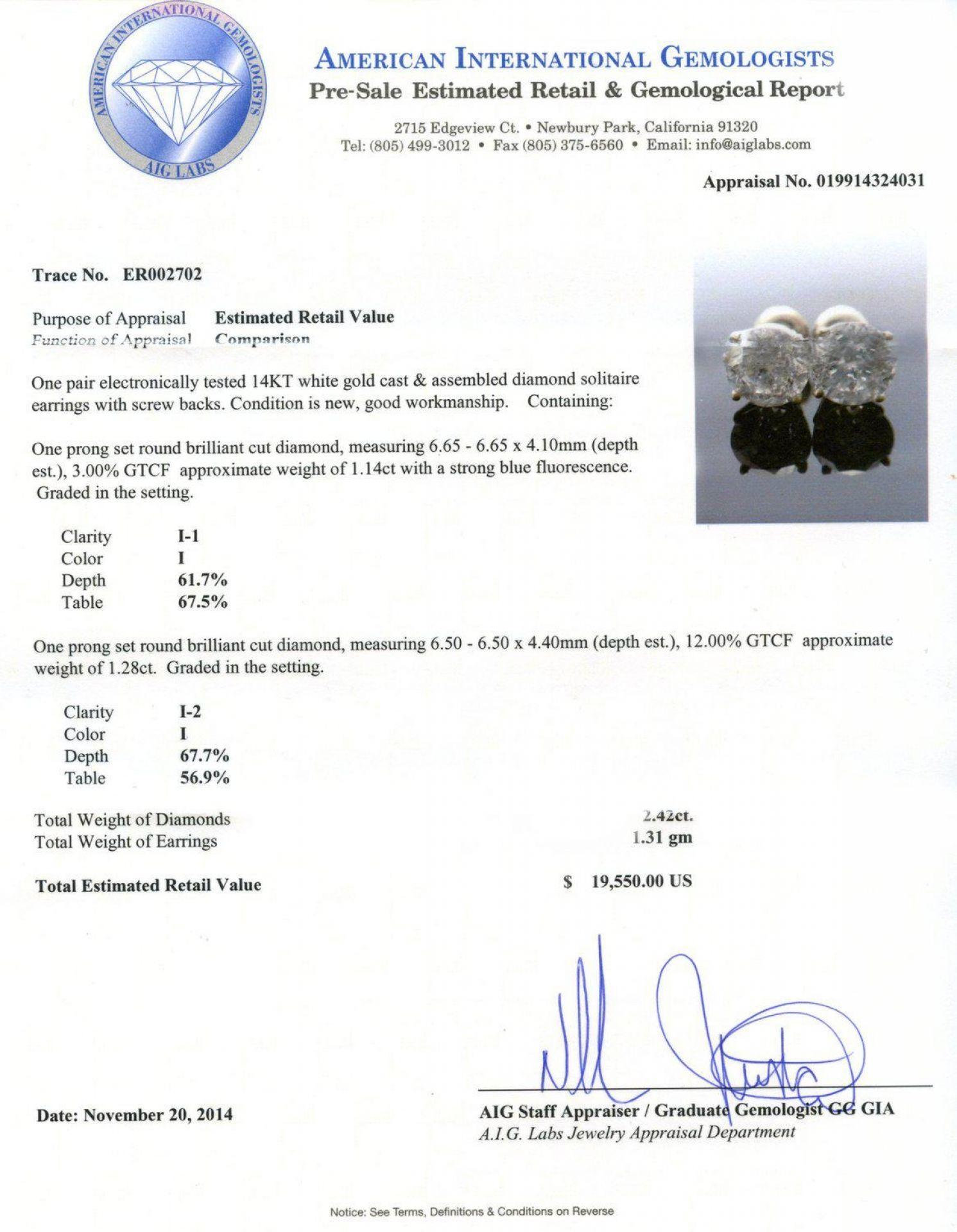 2.42ctw Diamond 14K White Gold Earrings