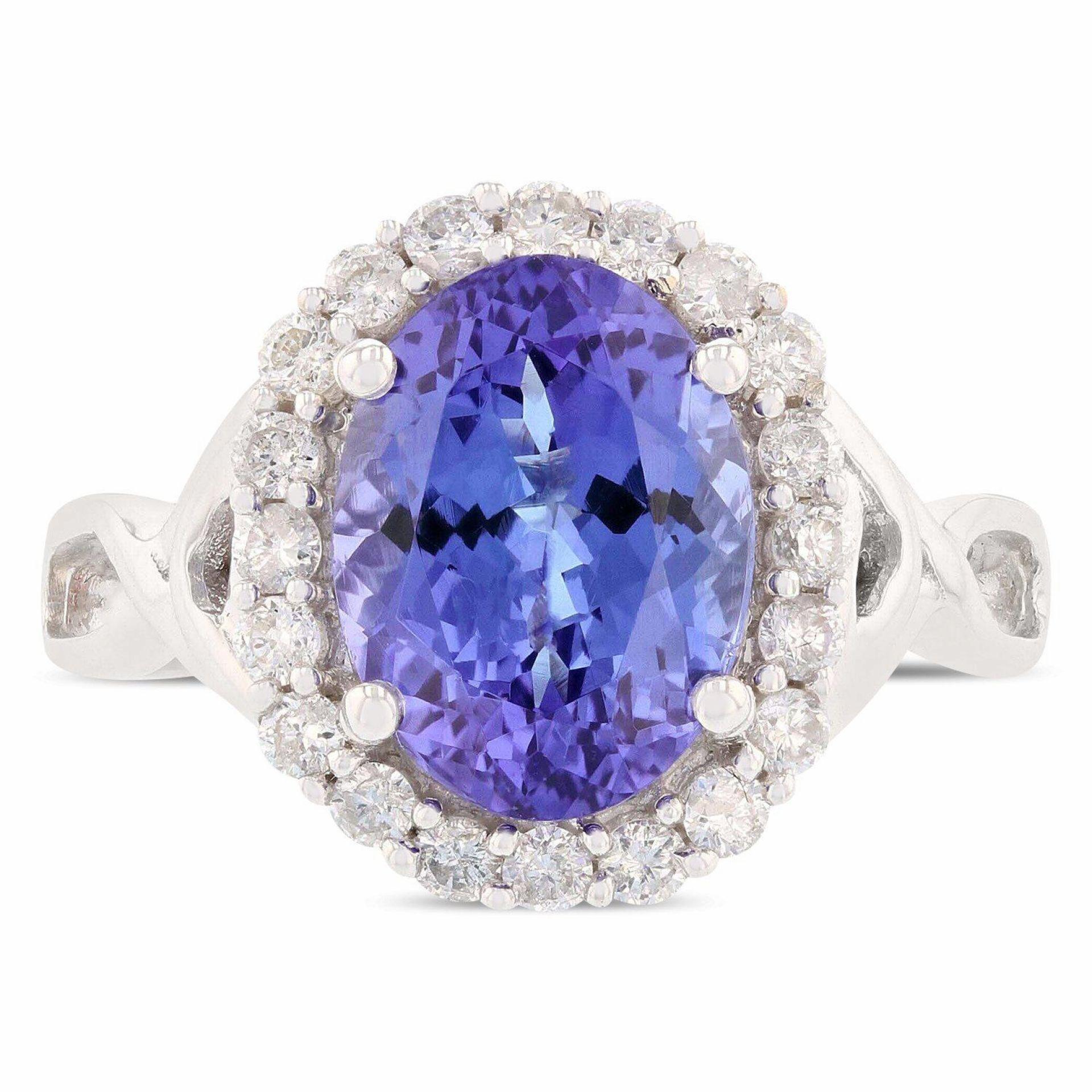 3.71ct Tanzanite and 0.45ctw Diamond 14K White Gold Ring