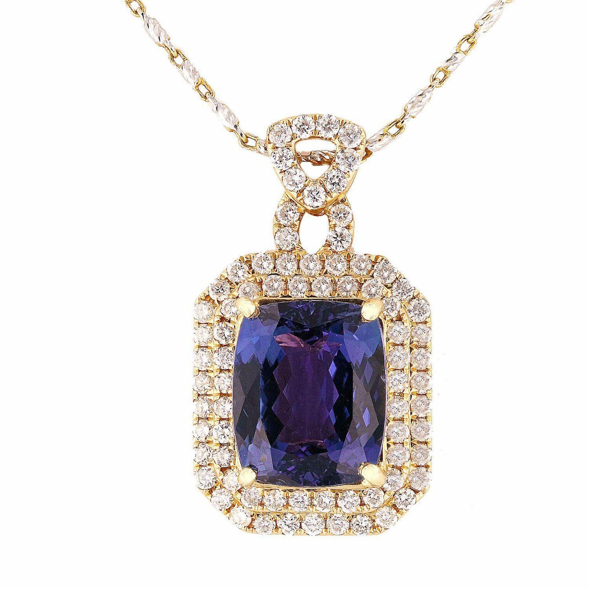 9.23ct Tanzanite and 1.44ctw Diamond 14K White Gold Pendant/Necklace
