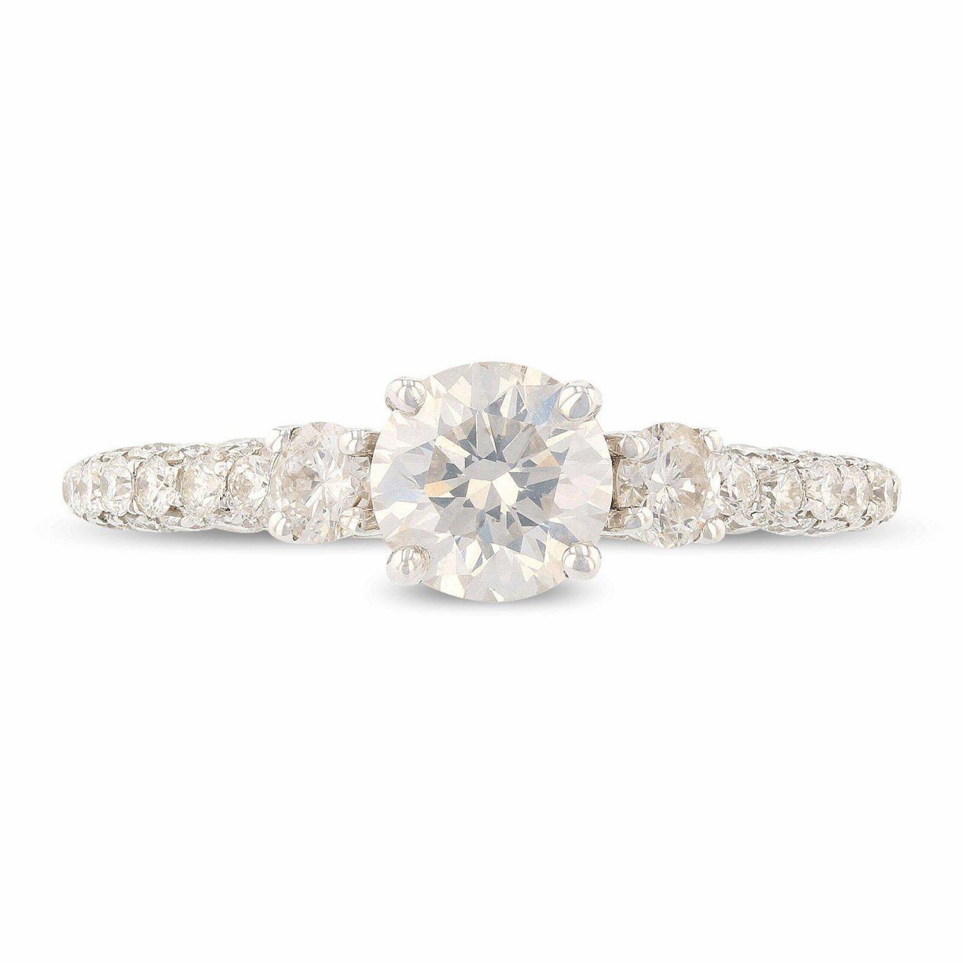 0.75ct SI3 CLARITY CENTER Diamond 18KT White Gold Ring (1.63ctw Diamonds) EGL CE