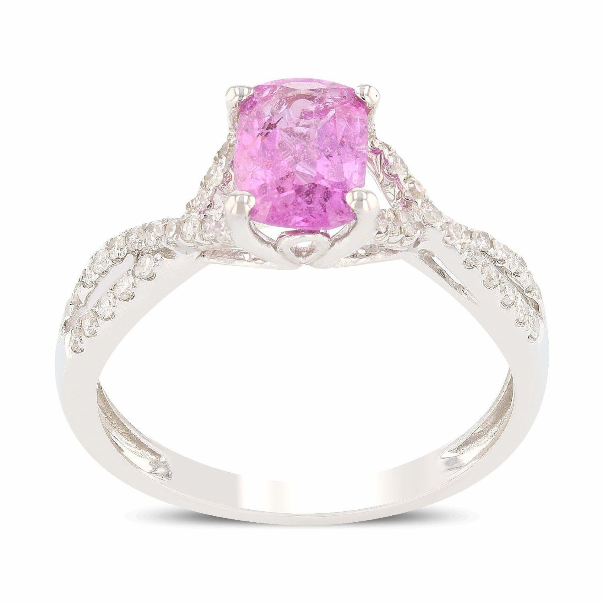 1.33ct Pink Sapphire and 0.18ctw Diamond 18K White Gold Ring