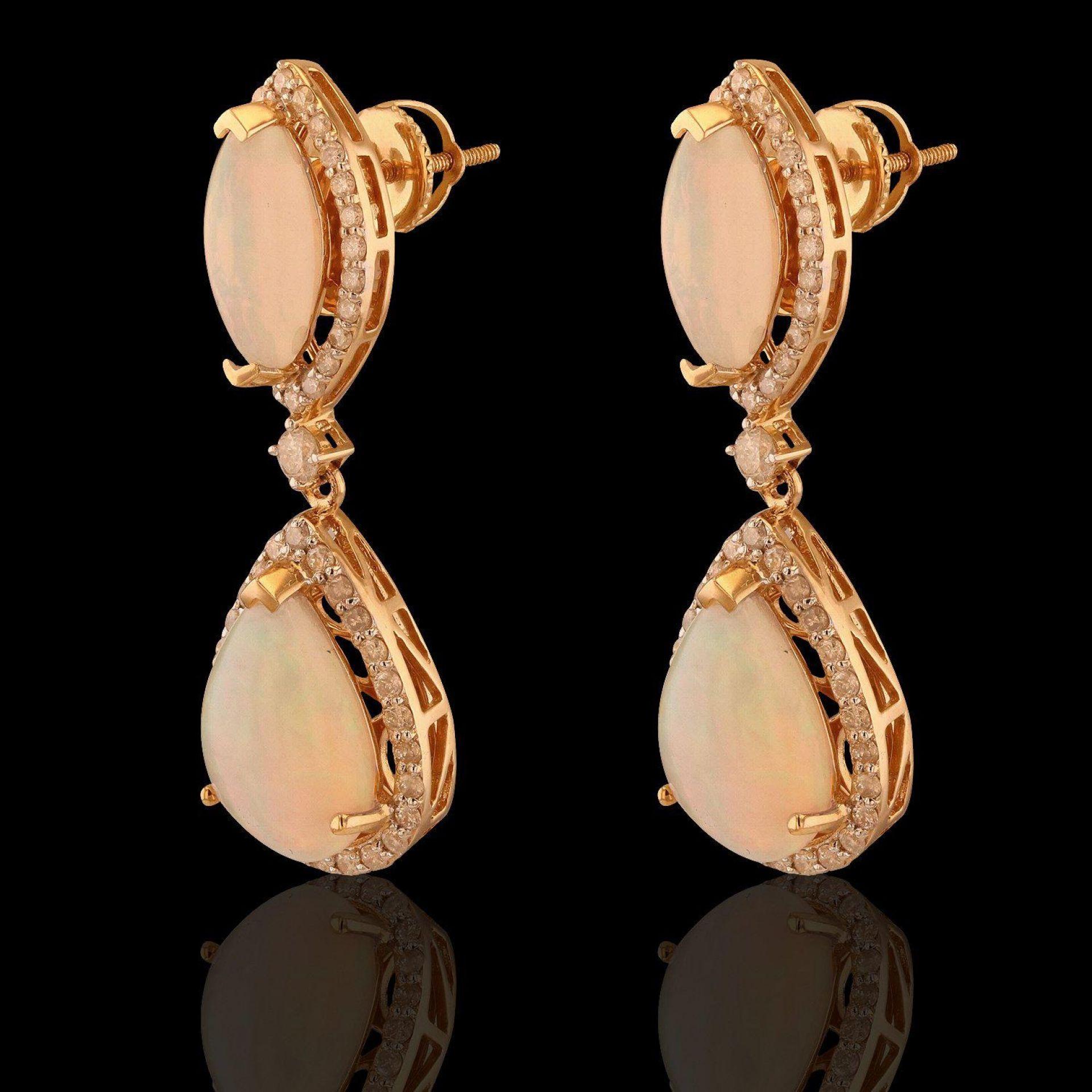 8.09ctw Opal and 1.10ctw Diamond 14K Yellow Gold Earrings