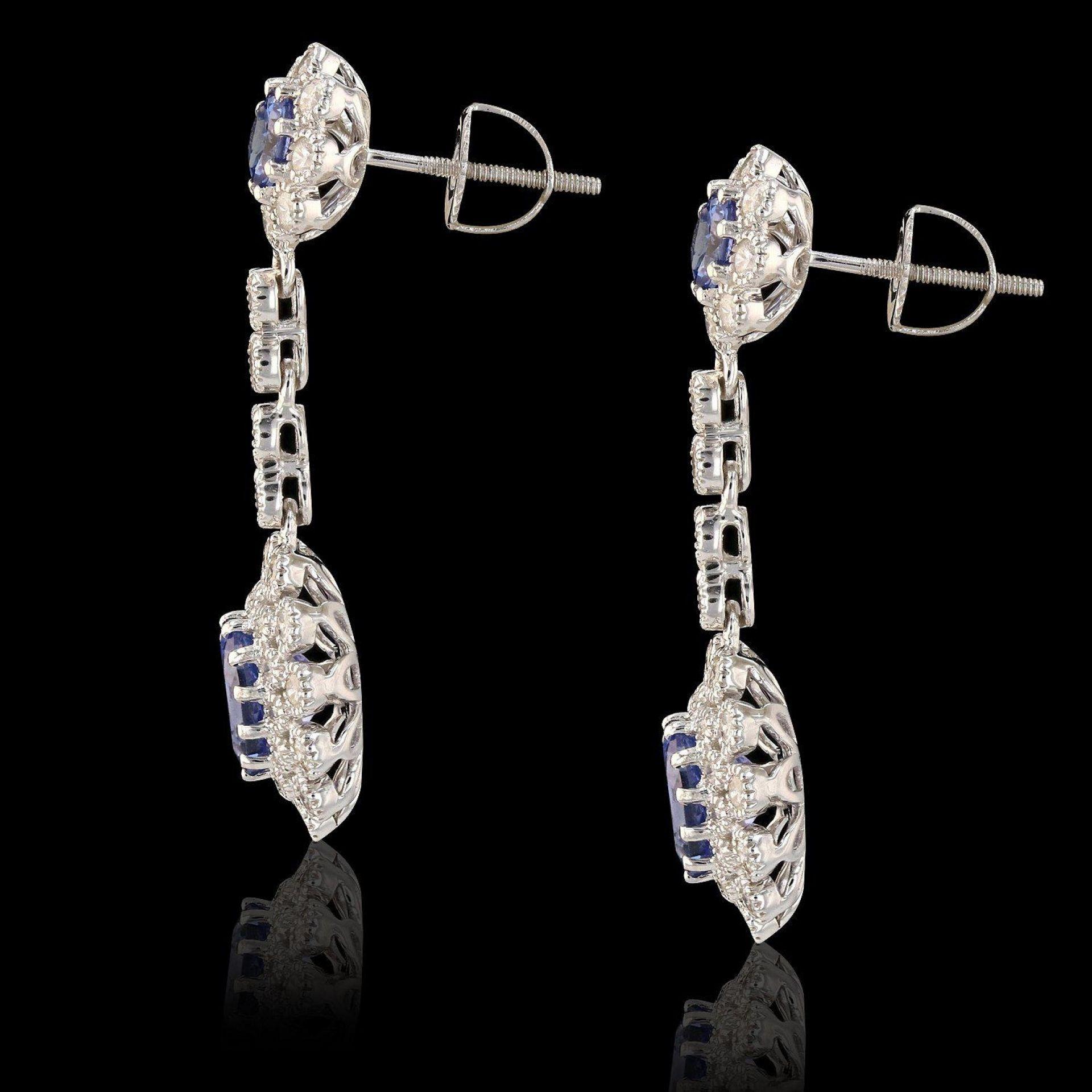 3.55ctw Tanzanite and 1.50ctw Diamond 14K White Gold Earrings