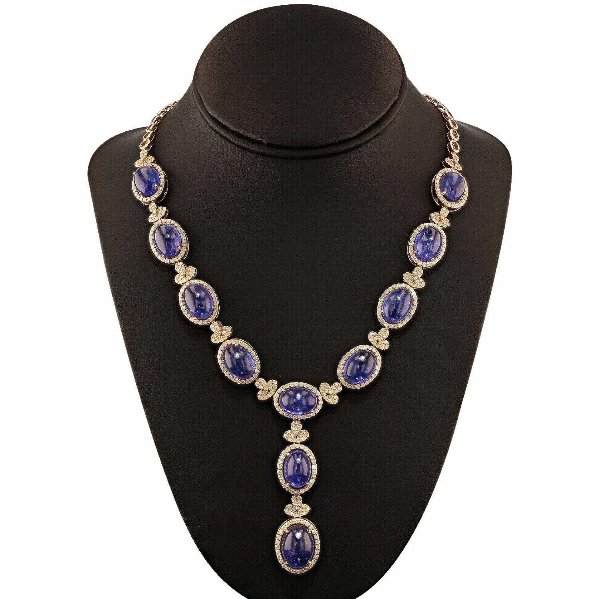 97.79ctw Tanzanite and 6.55ctw Diamond 14K Yellow Gold Necklace