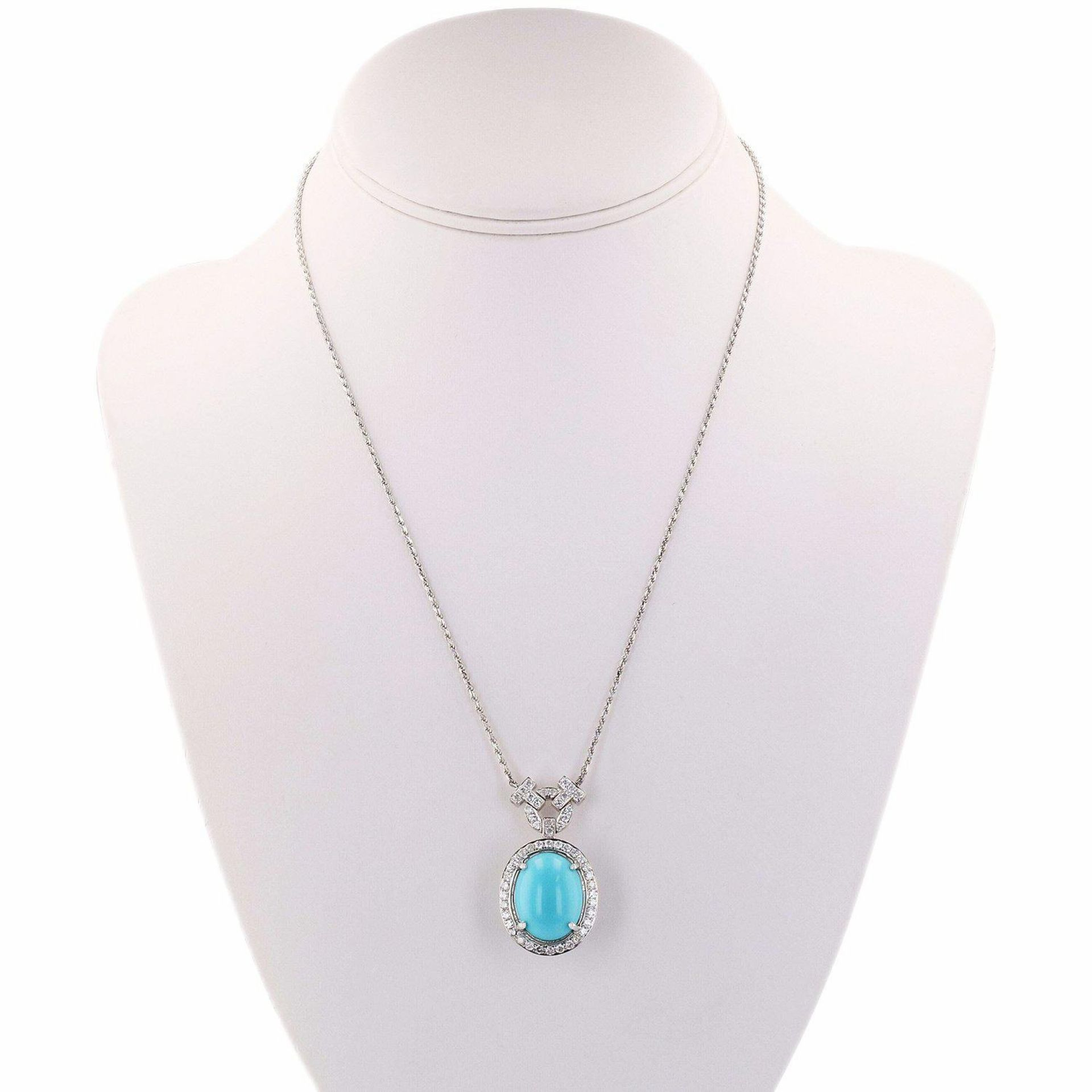 11.13ct Turquoise and 1.17ctw Diamond 14K White Gold Pendant/Necklace