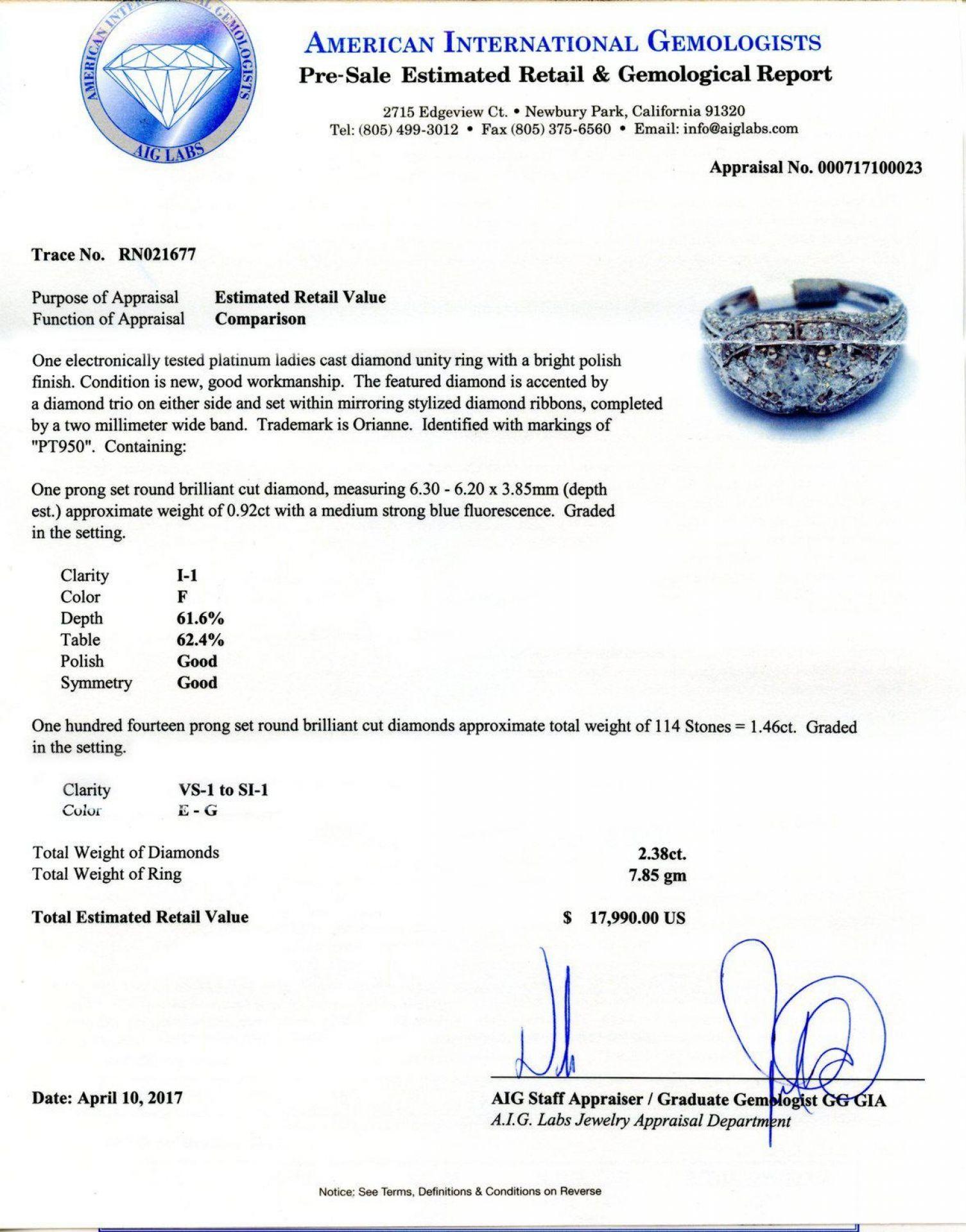 2.38ctw Diamond Platinum Ring (EGL CERTIFIED)