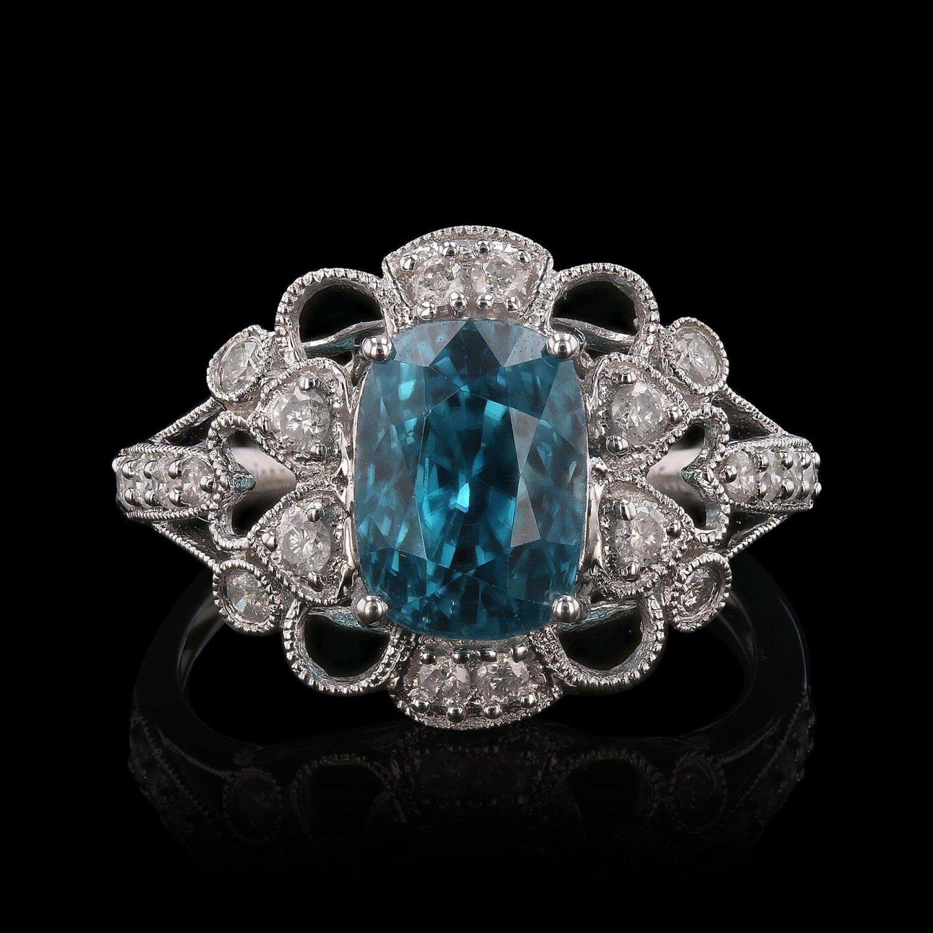 4.93ct Zircon and 0.35ctw Diamond 14K White Gold Ring