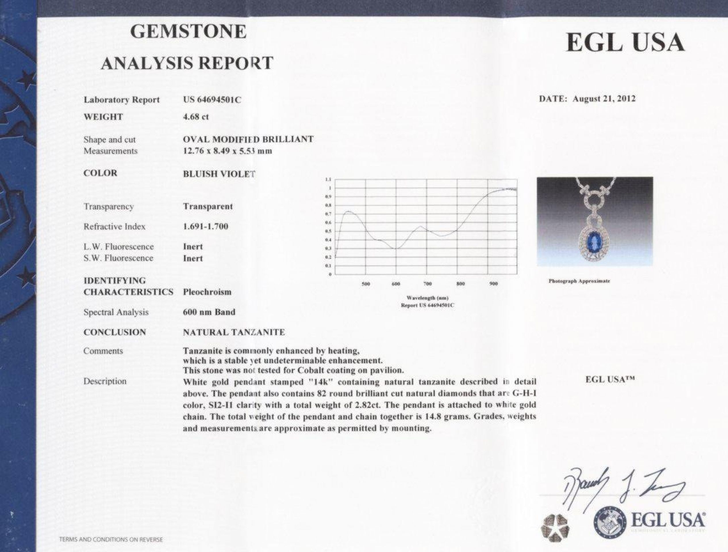 4.68ct Tanzanite and 2.82ctw Diamond 14KT White Gold Pendant/Necklace (EGL USA C