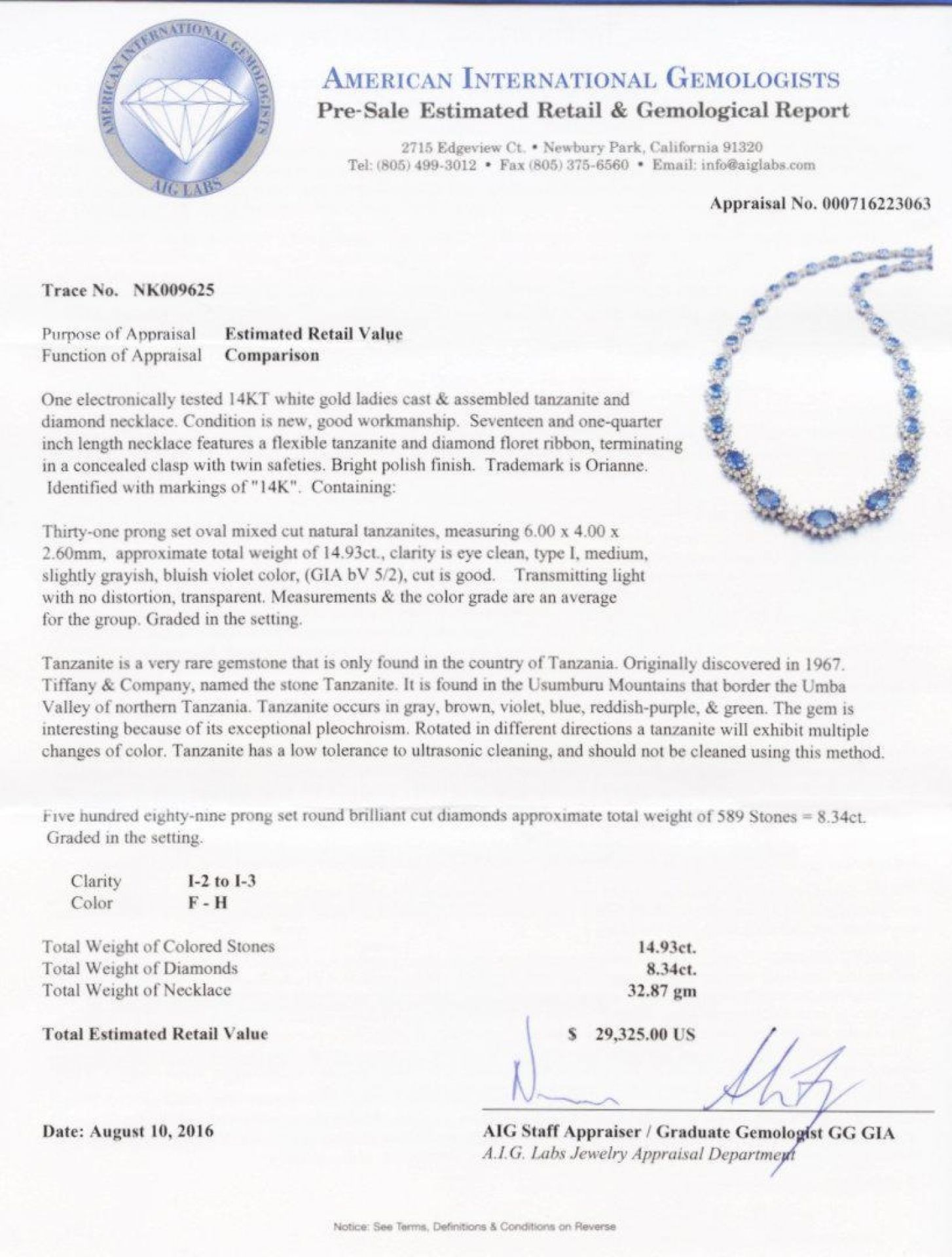 14.93ctw Tanzanite and 8.34ctw Diamond 14K White Gold Necklace