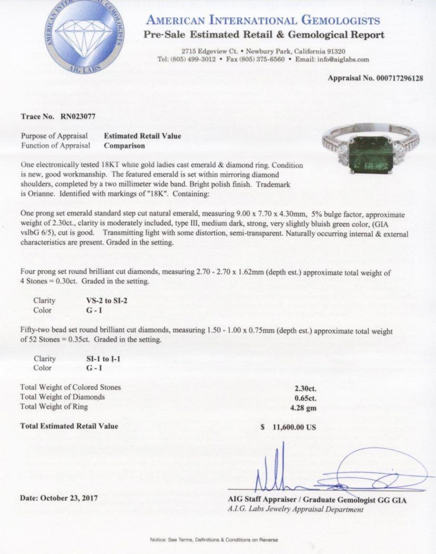 2.30ct Emerald and 0.65ctw Diamonds 18KT White Gold Ring