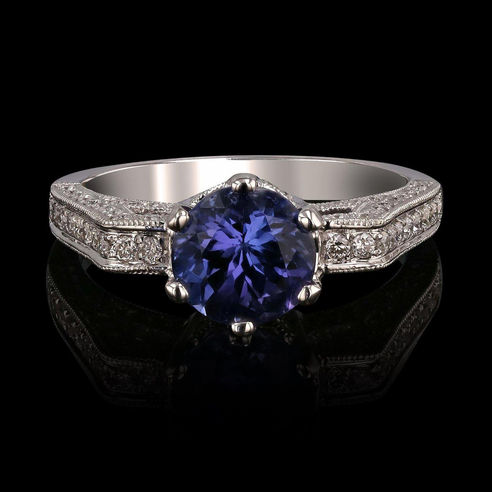1.81ct Tanzanite and 0.46ctw Diamonds 14KT White Gold Ring