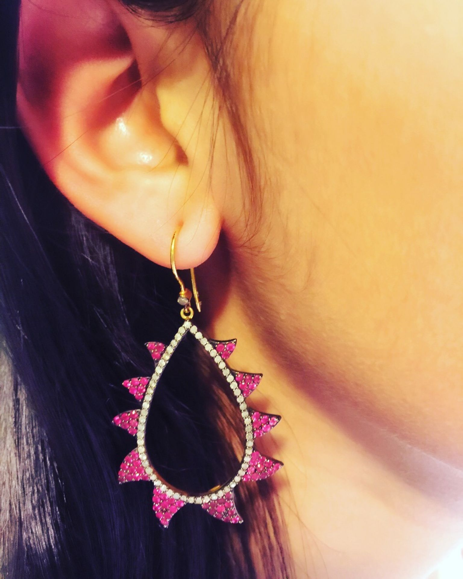 Meghna Jewels Claw Earrings Rubies Negative Space and Diamonds