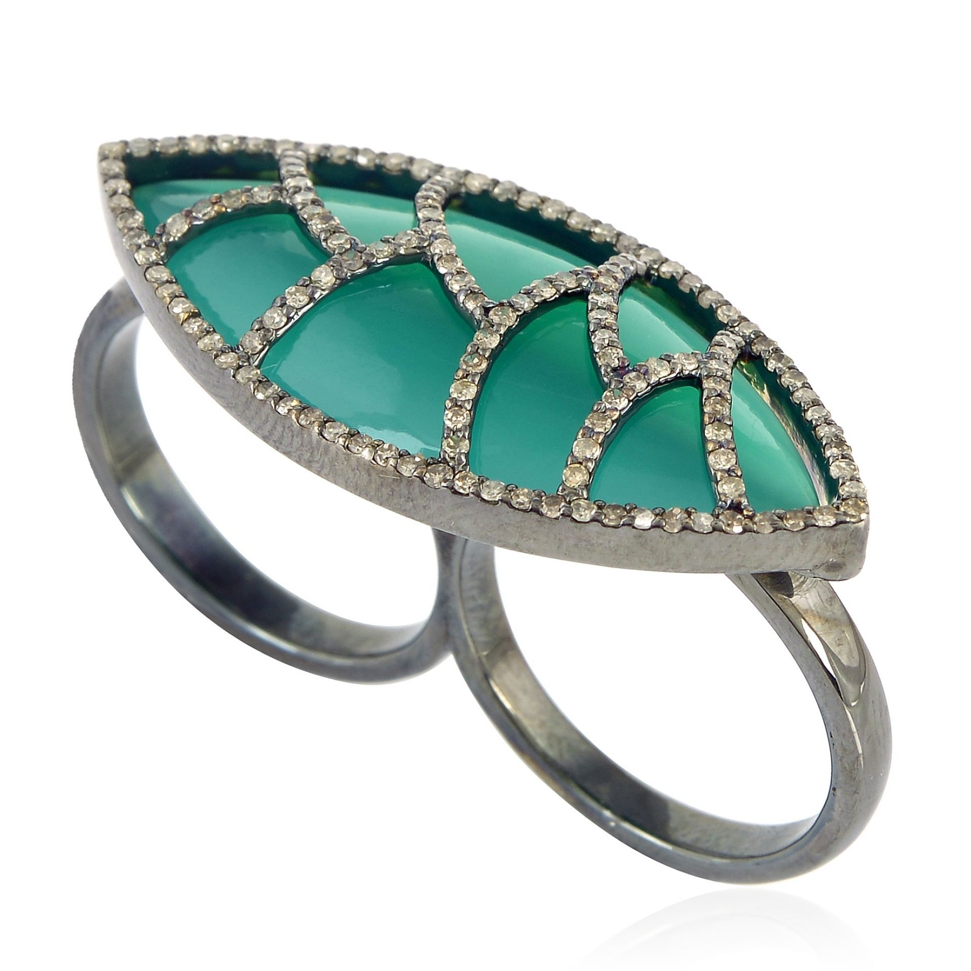 Meghna Jewels Bora Bora Ring Green Onyx & Diamonds