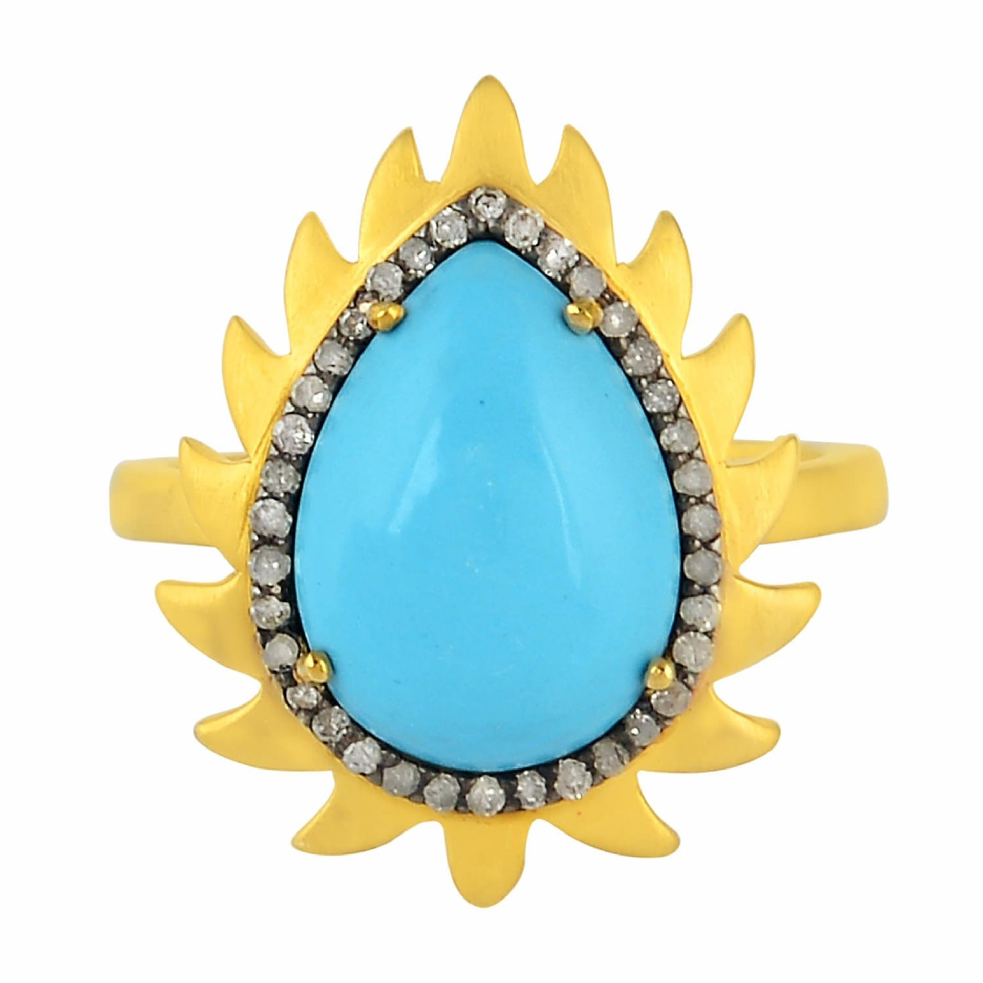 Meghna Jewels Flame Ring Turquoise & Diamonds