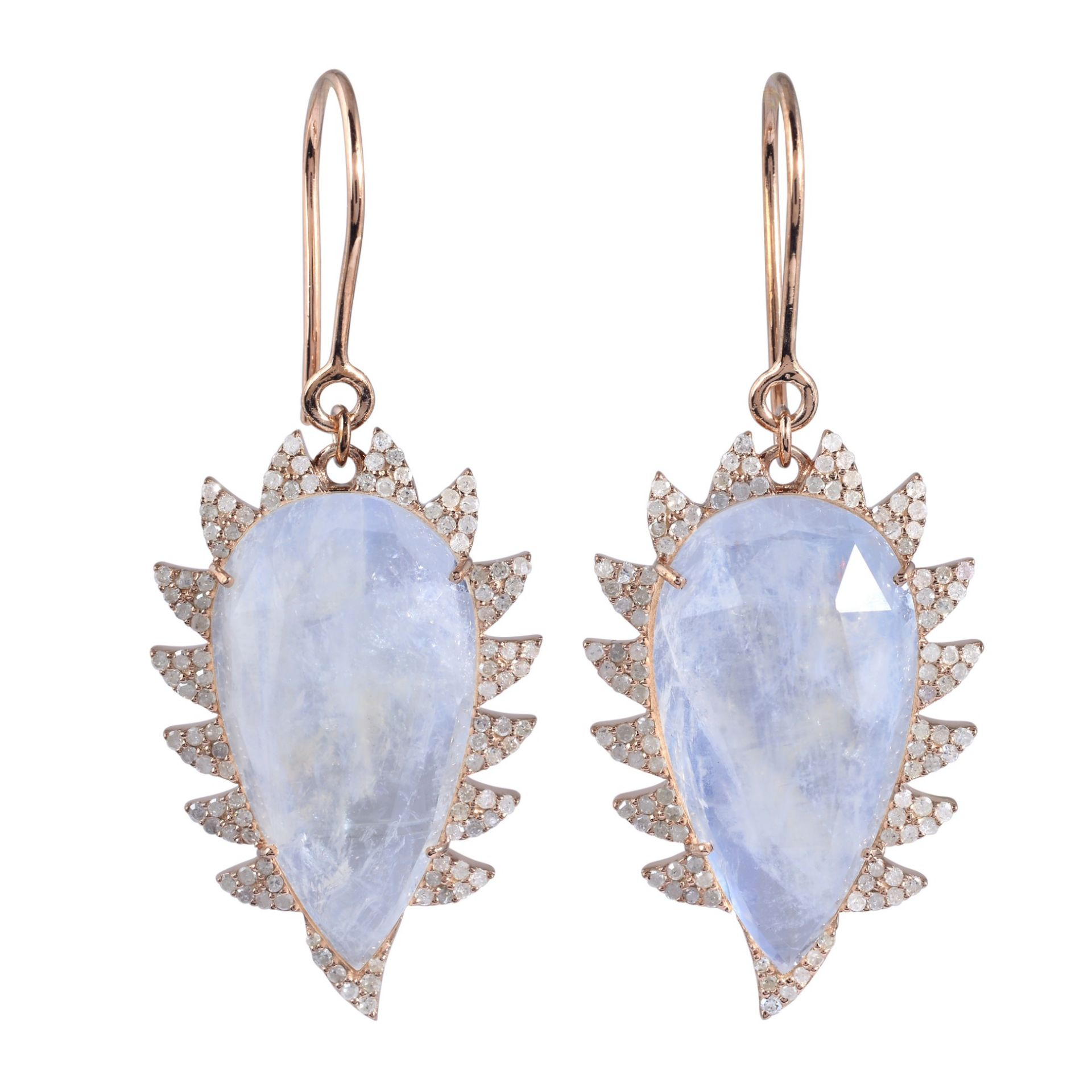 Meghna Jewels Claw Drop Earrings Rainbow Moonstone and Diamonds