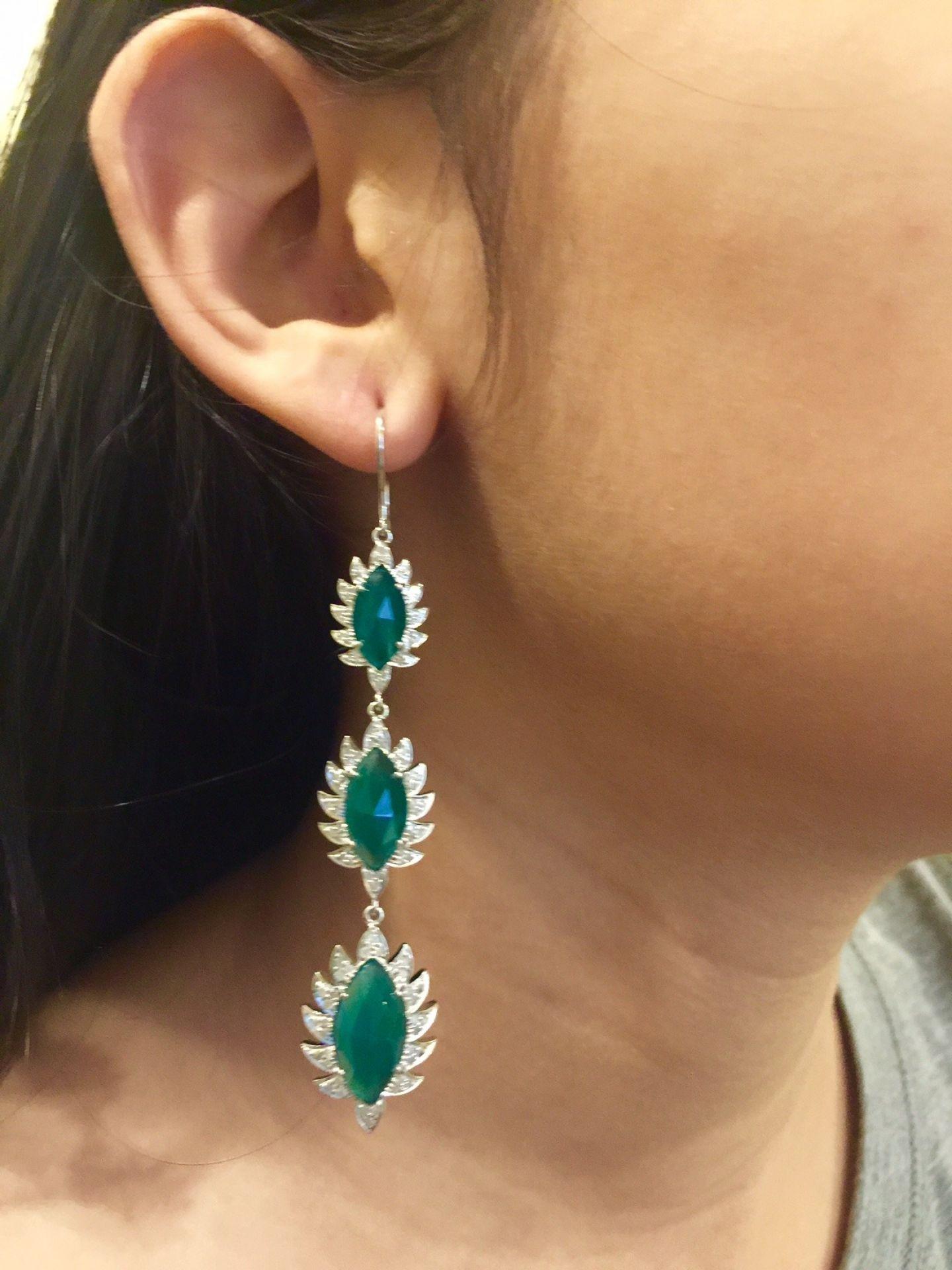 Meghna Jewels Triple Drop Green Chalcedony & Diamonds Marquise Earrings
