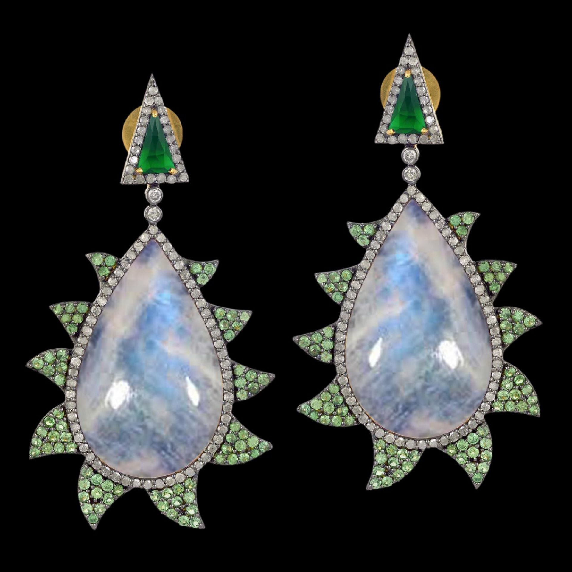 Meghna Jewels Claw Earrings Rainbow Moonstone, Green Onyx & Diamonds